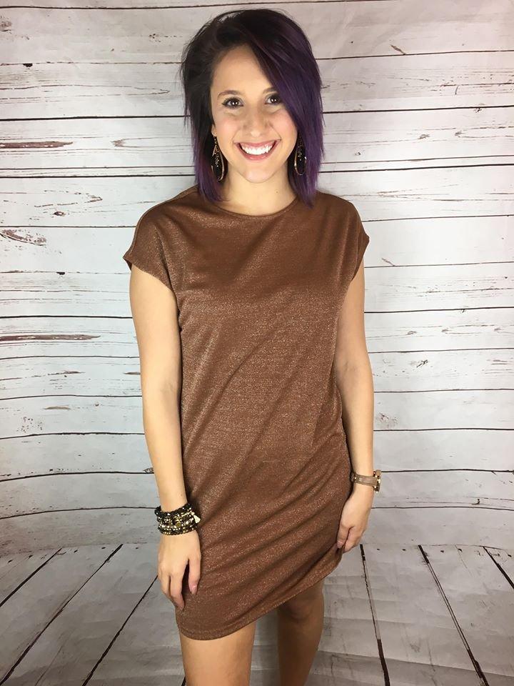 Drop shldr lurex shift dress
