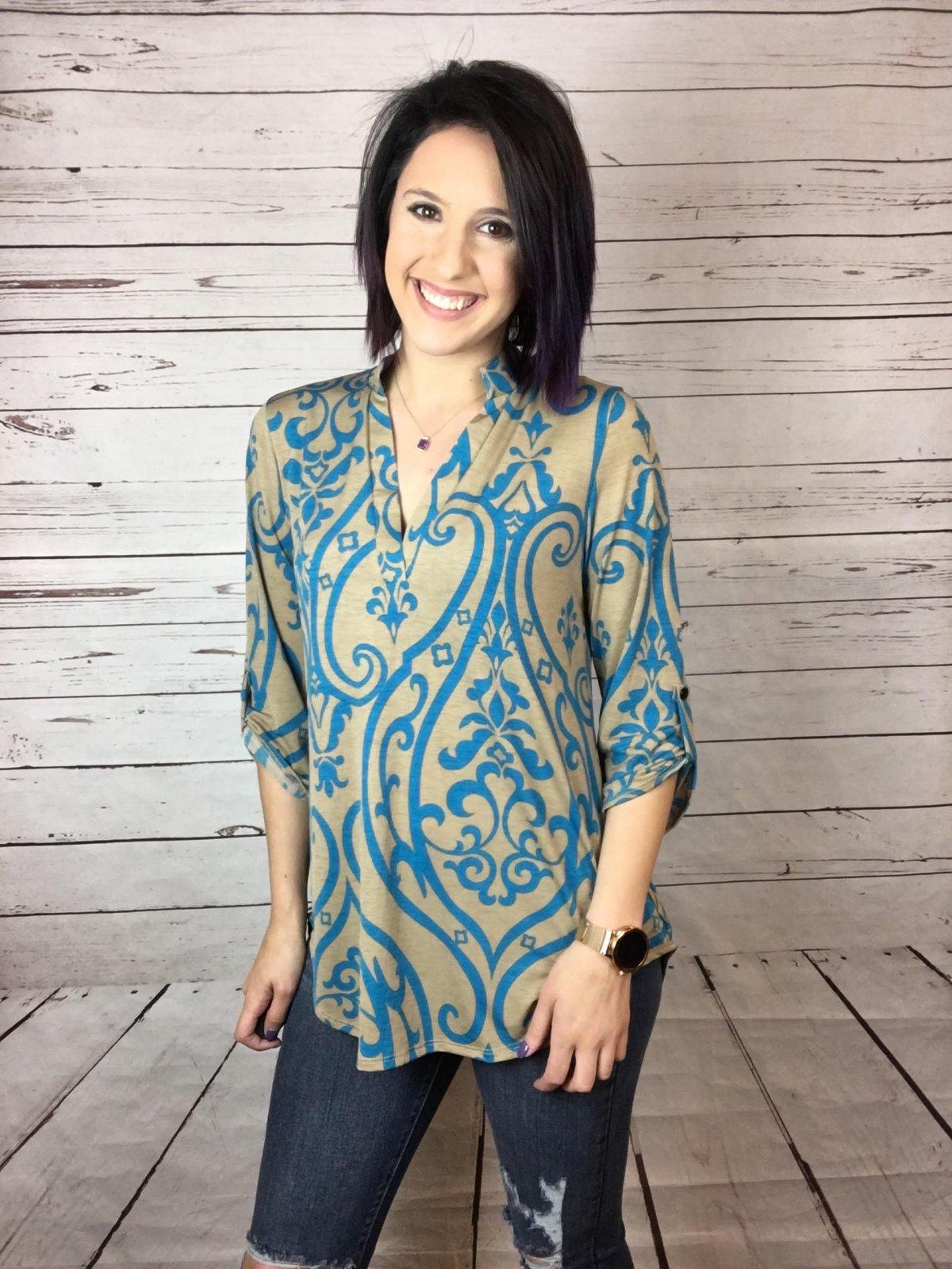 Damask print tunic