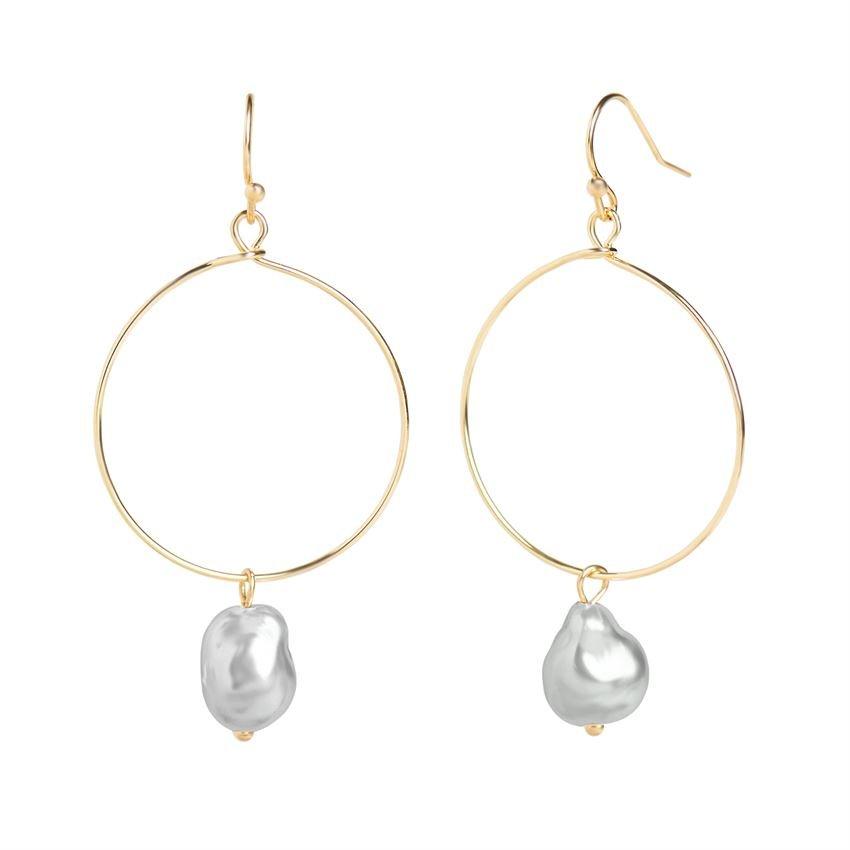 WN004093 Whispers Gold hoop pearl dangle earring