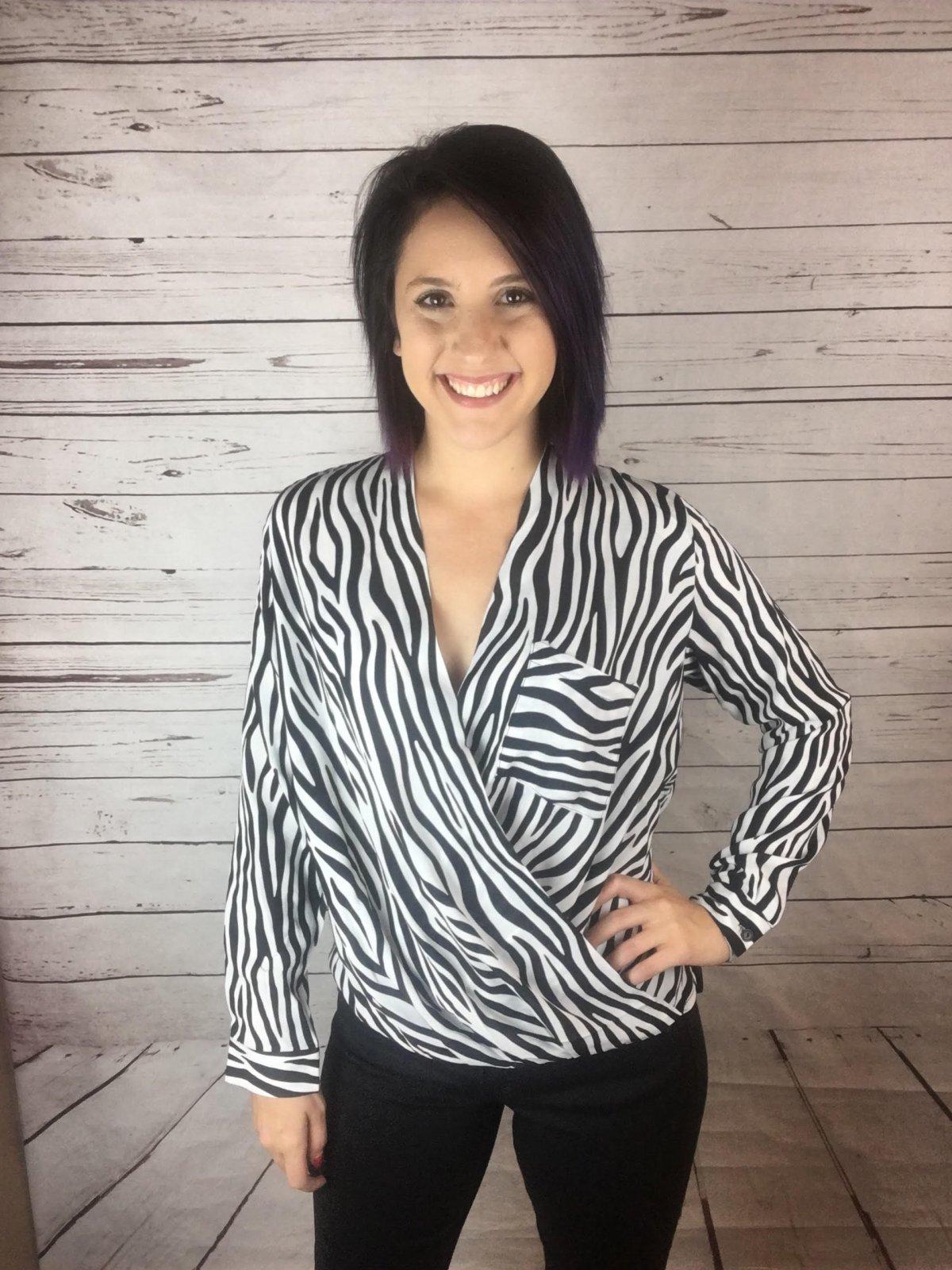 Wrap front print blouse