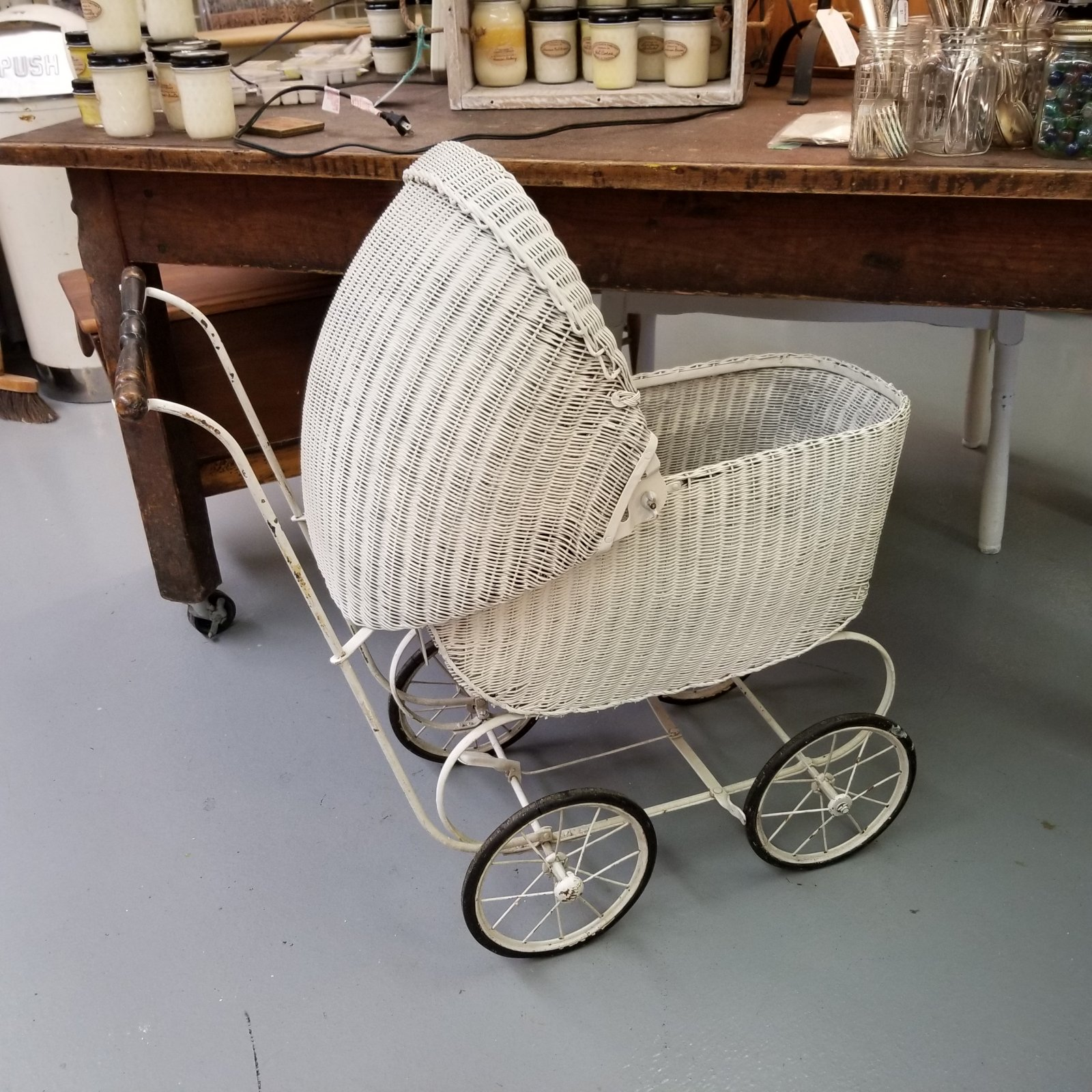 White Wicker Baby Buggy