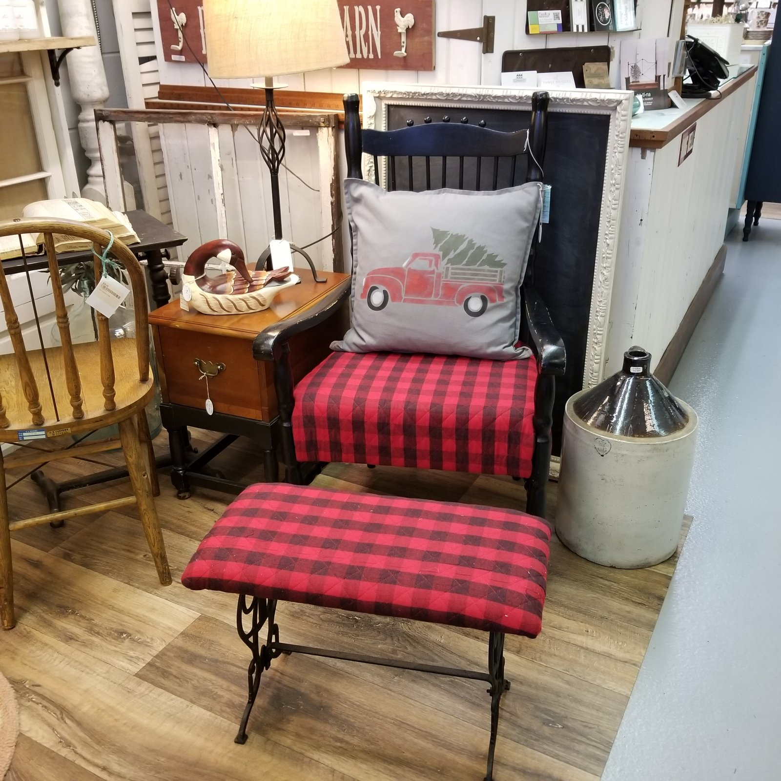 Red & Black Buffalo Chair with Stool