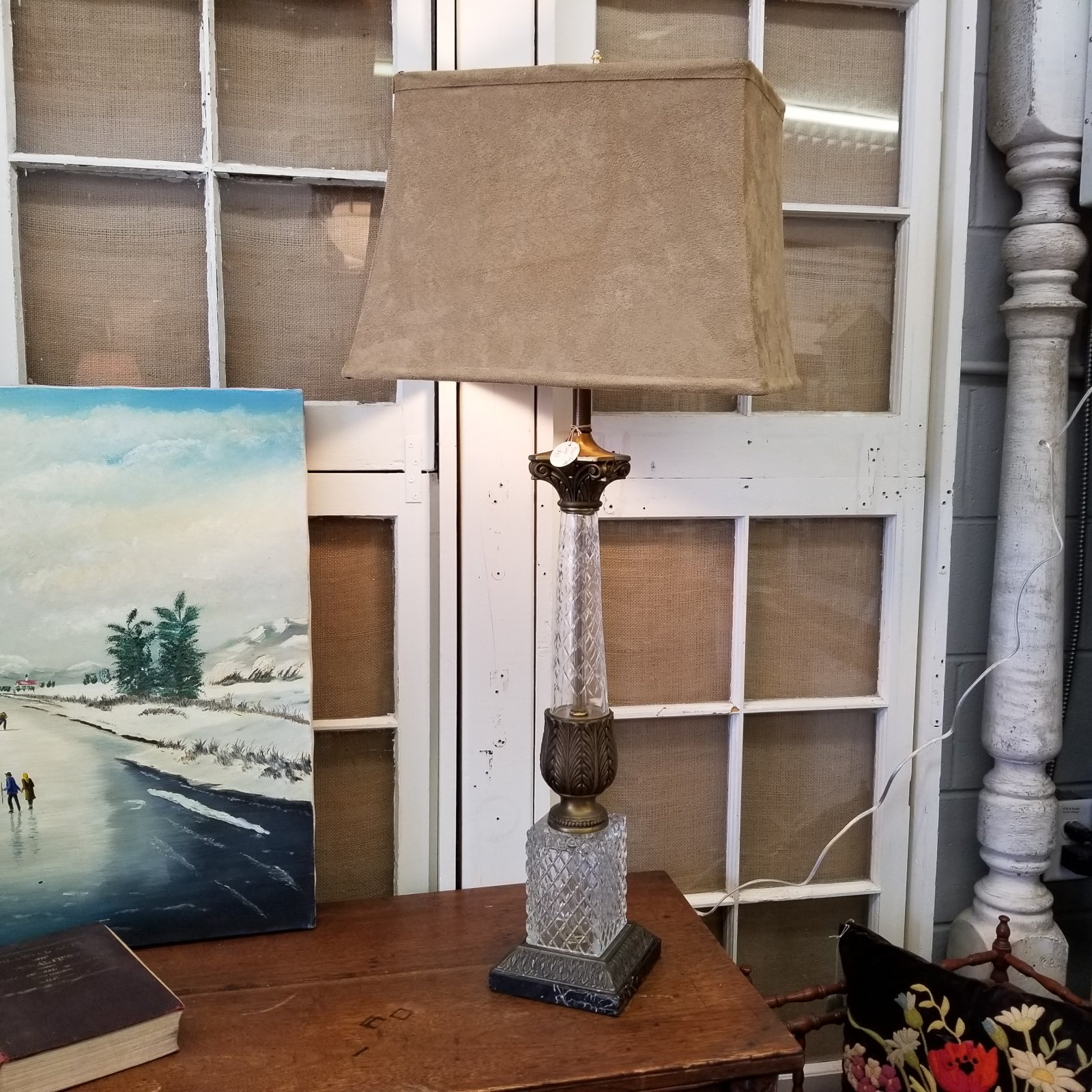 Brass & Crystal Tall Lamp