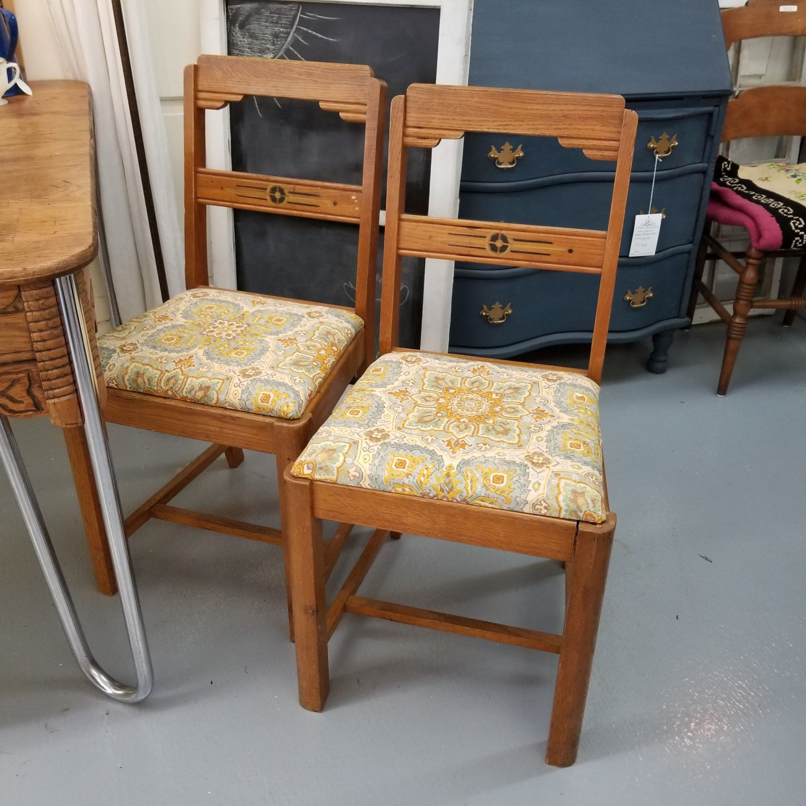 Pair of Oak Chairs with New Fabric on Seats