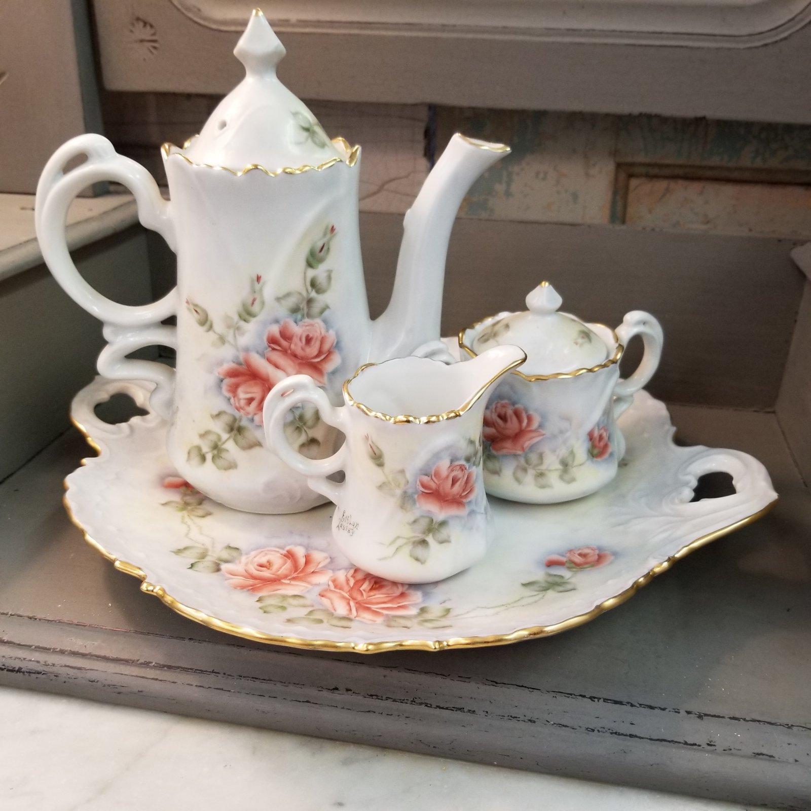 Set of 4 Hand Painted Ceramic Plate, Teapot, Creamer & Sugar