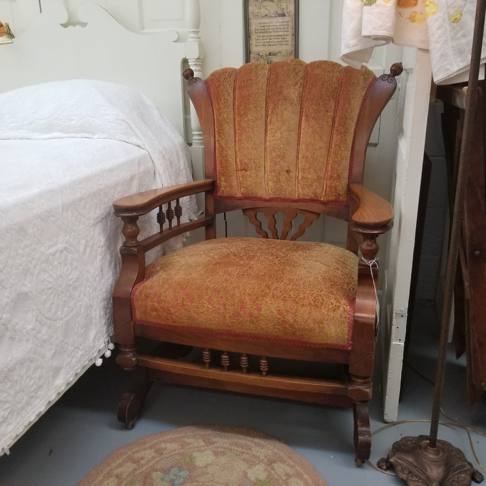 Large Rocking Chair with Orange Upholstery