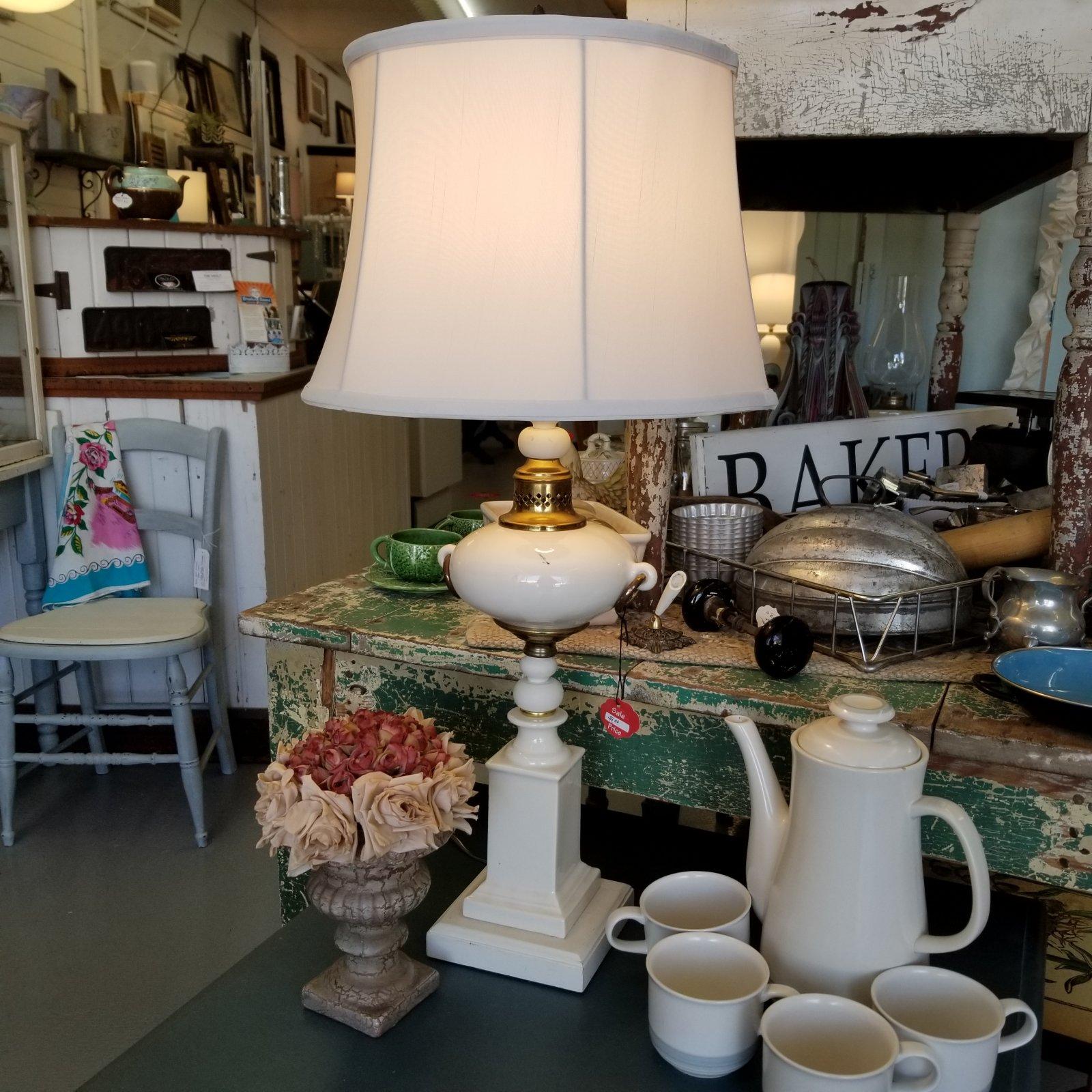 Cream Ceramic Wood Lamp New Shade & Wirng
