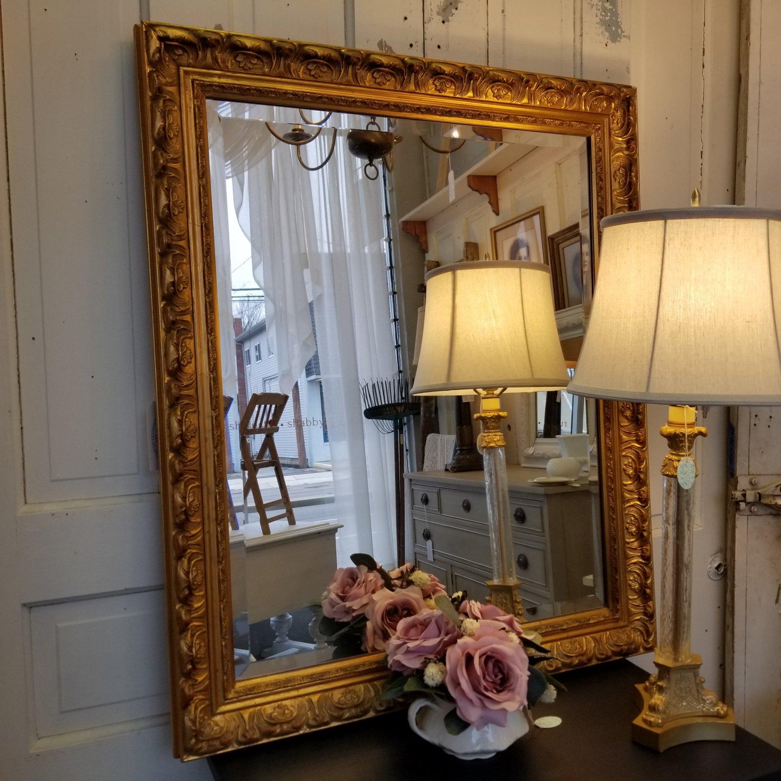 Large Gold Beveled Mirror 30 x 36