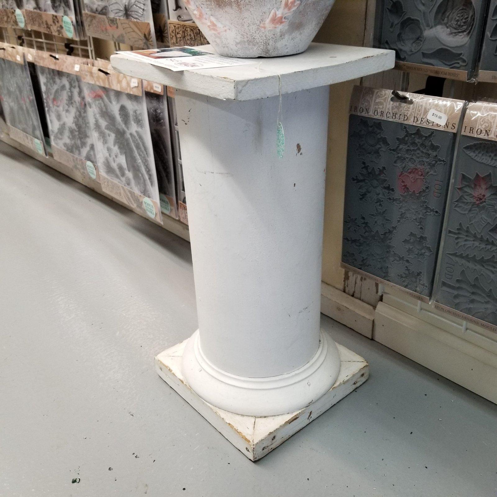White Pillar Plant Stand 10.5 x10.5 x 21H