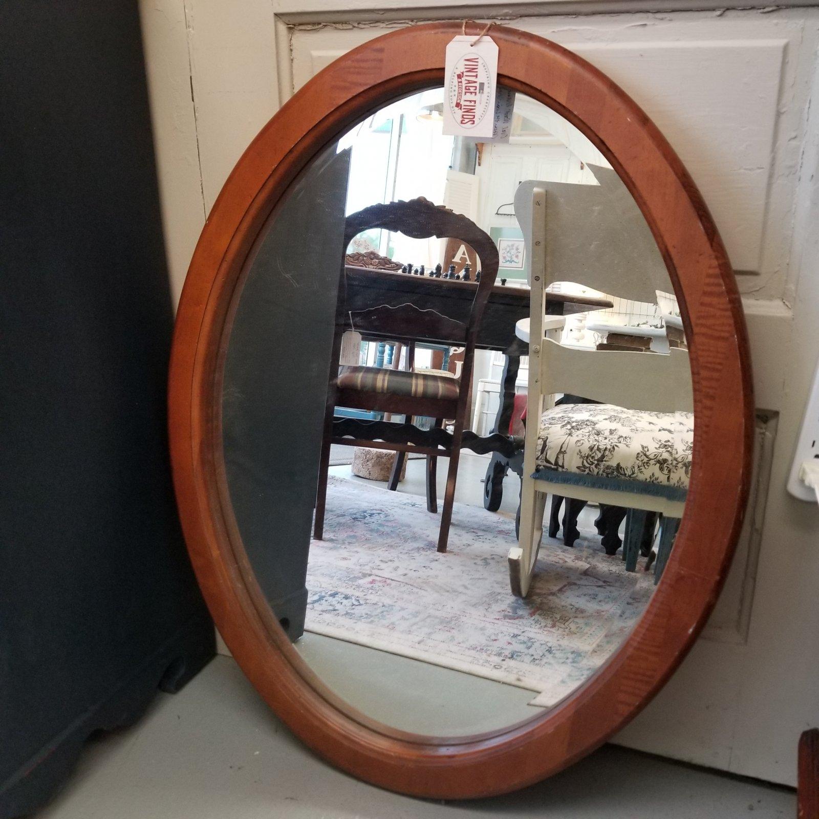 Oval Wood Framed Mirror 33 x 26