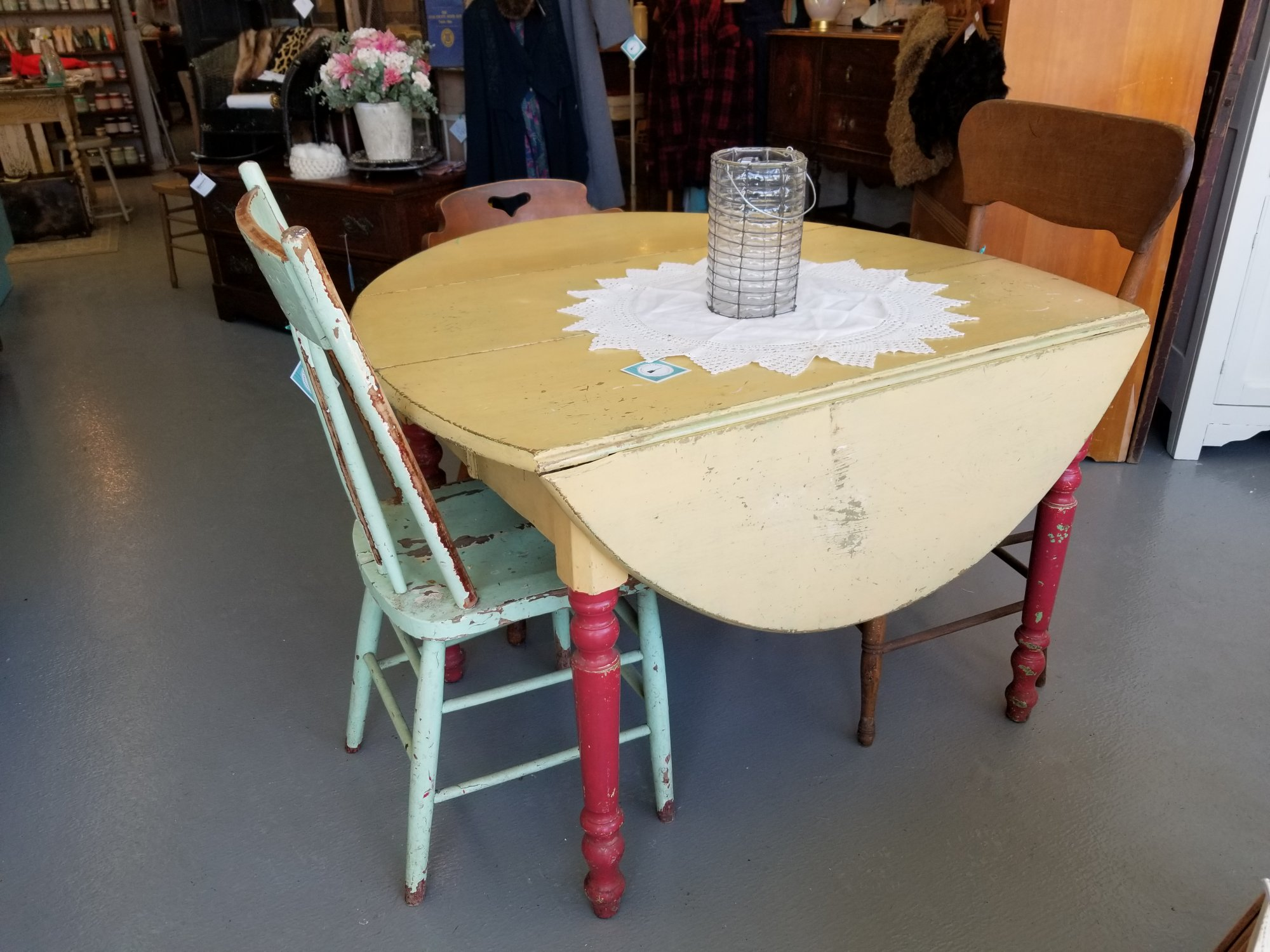 Oval Drop Leaf Table Yellow/Red