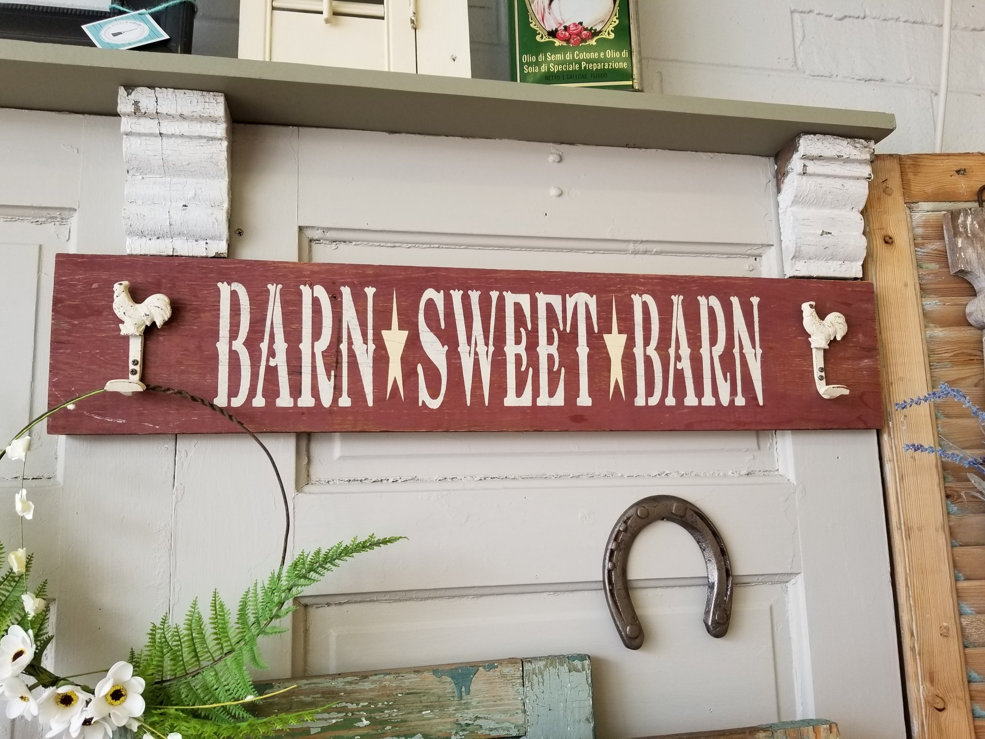 Barn Sweet Barn Sign with Hooks