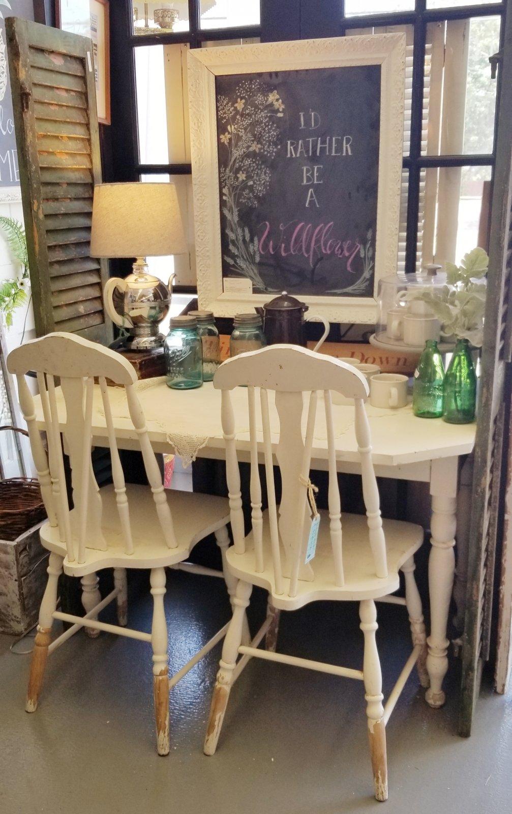 Farmhouse White Table + 2 Chairs