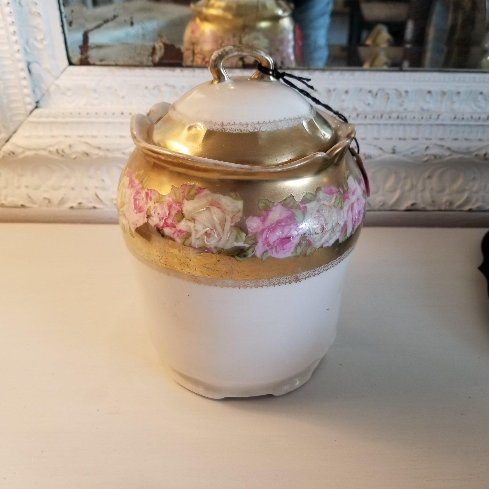 Pink Roses & Gold Lidded Jar