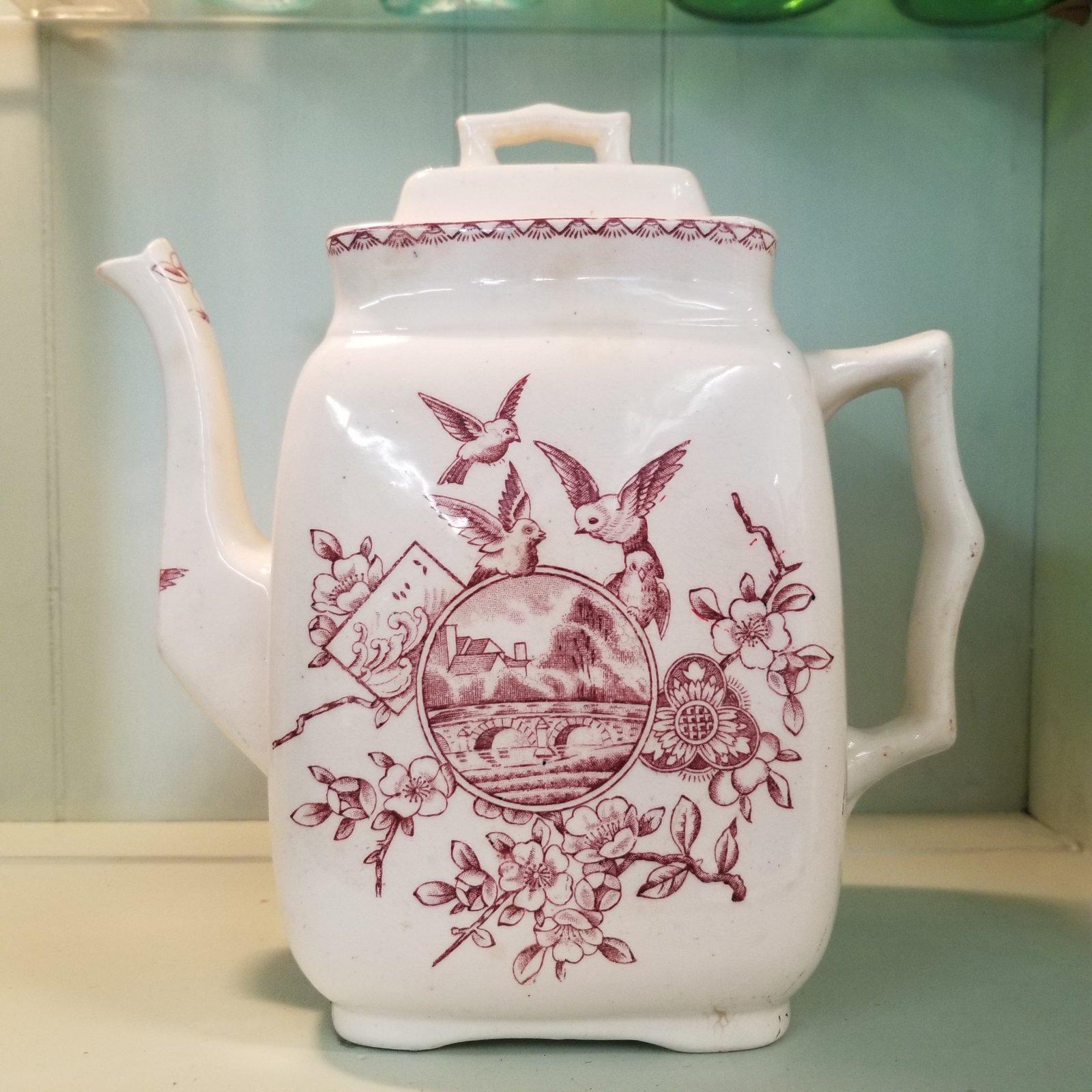Red Transferware Teapot