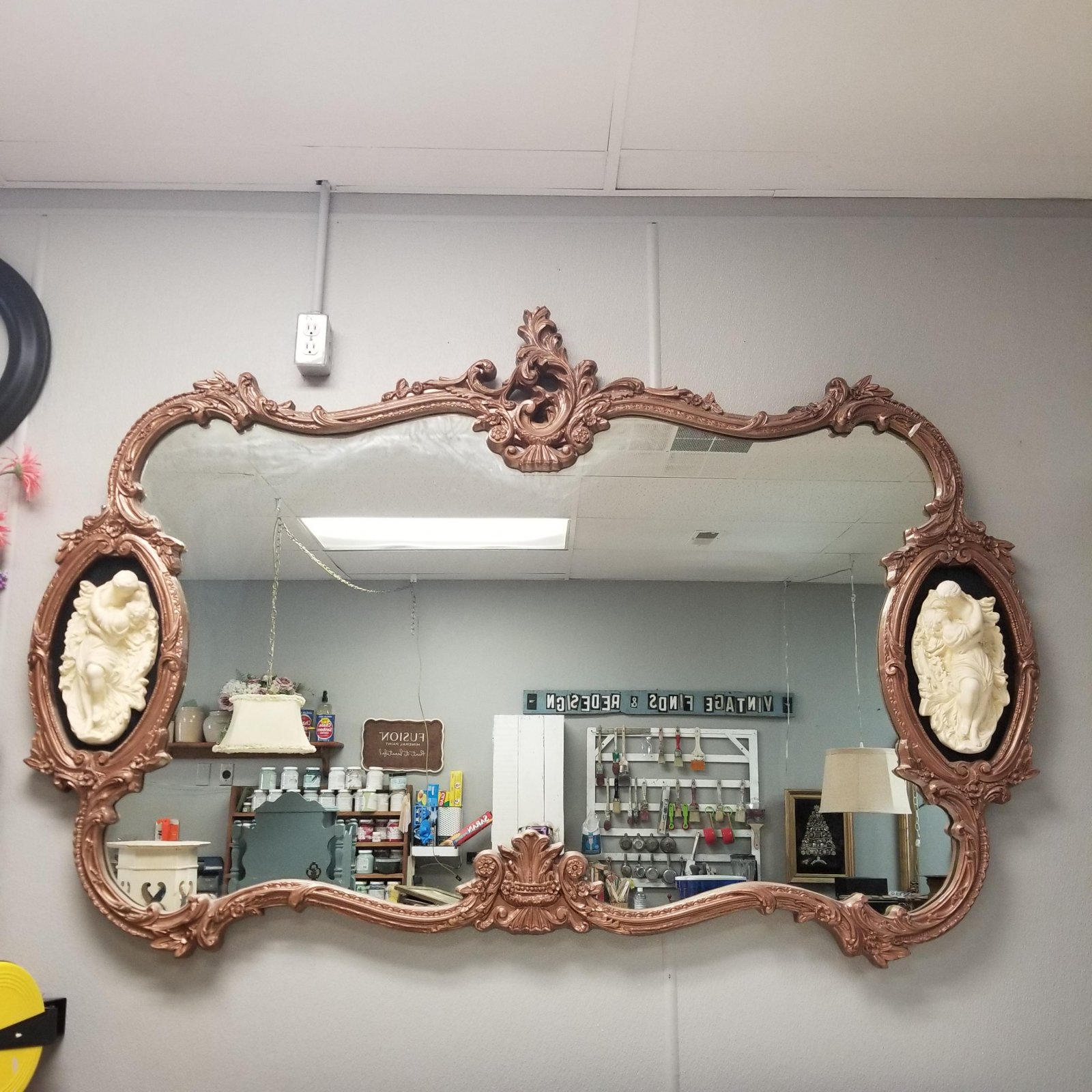 Large French Rococo Style Lovers Embrace Wall Mirror