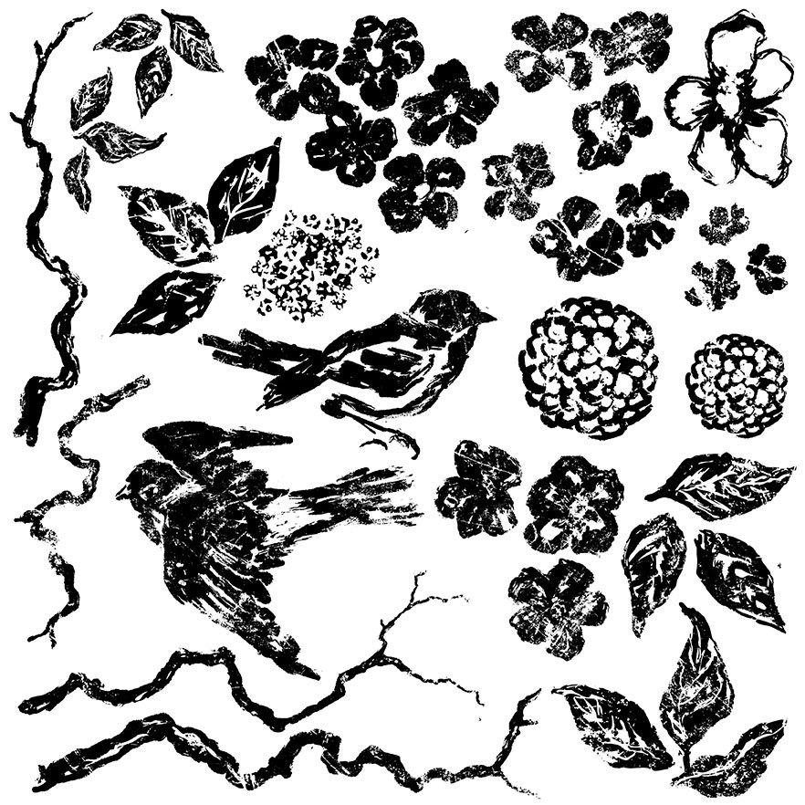 Birds Branches Blossoms 12x12 IOD Decor Stamp Retired Jan 2021