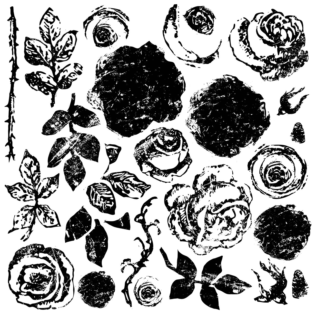 Painterly Roses 12 x 12 IOD Decor Stamp Retired Jan 2021