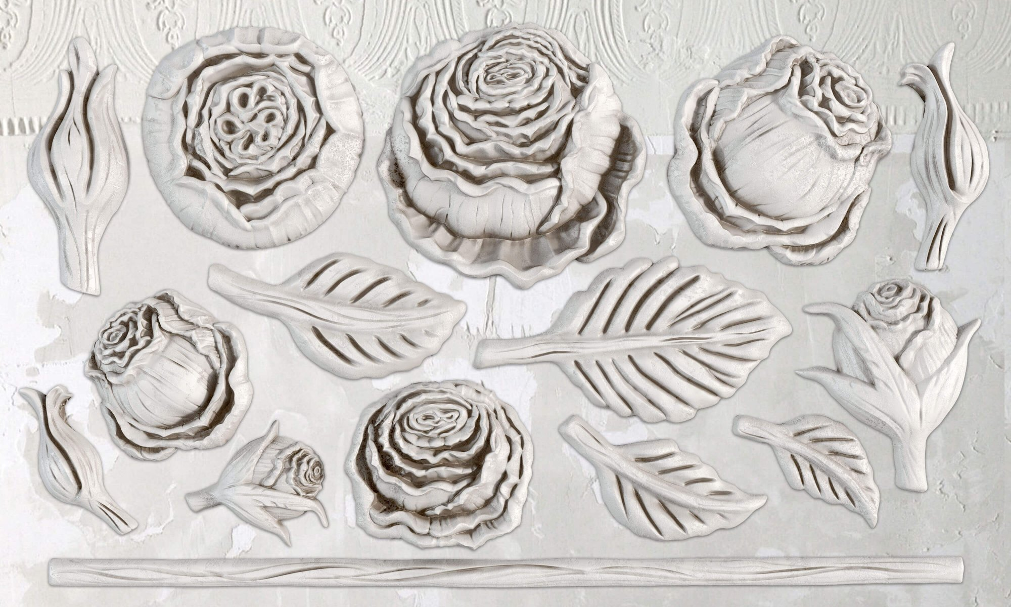 Heirloom Roses 6x10 IOD Decor Moulds