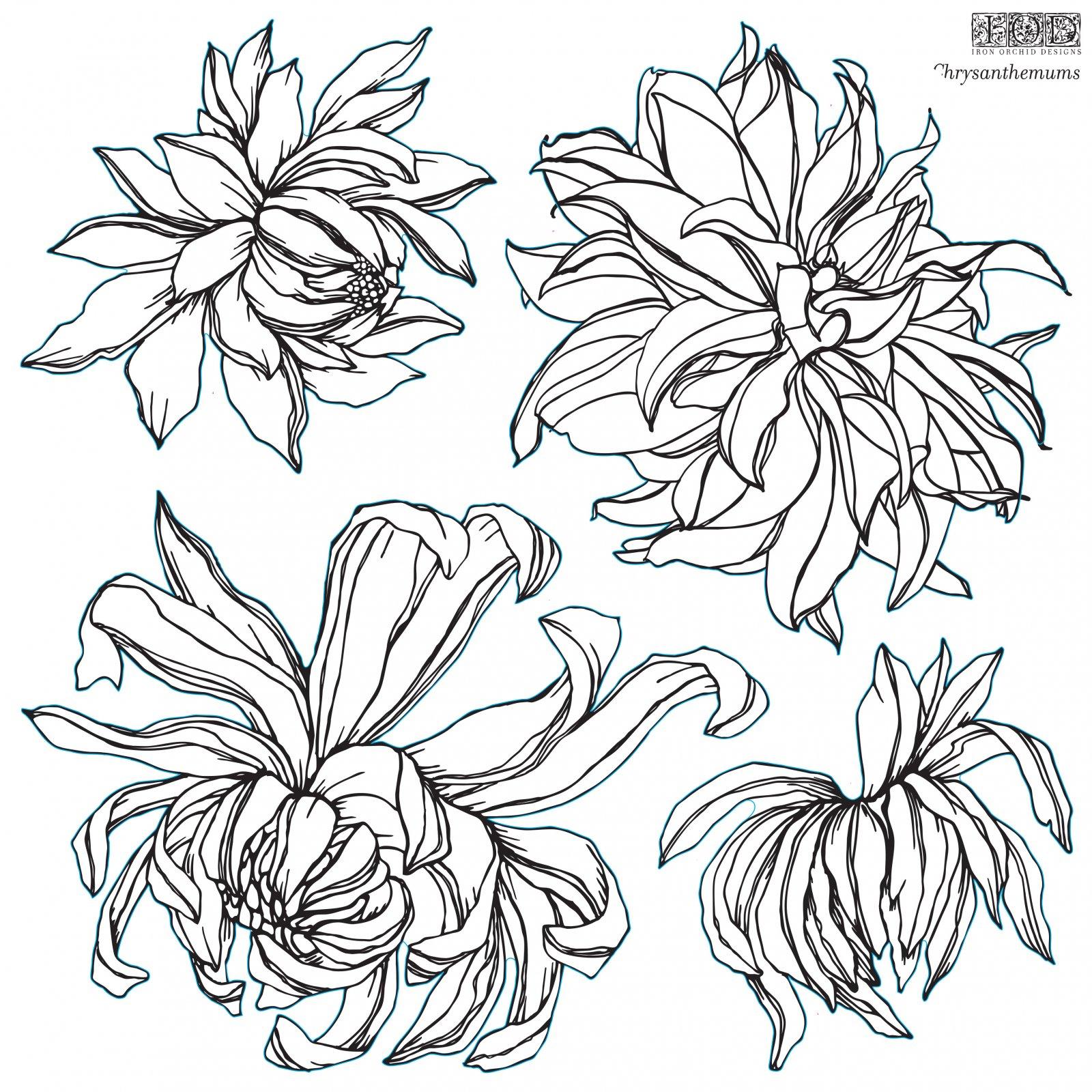 Chrysanthemum 12x12 IOD Stamp