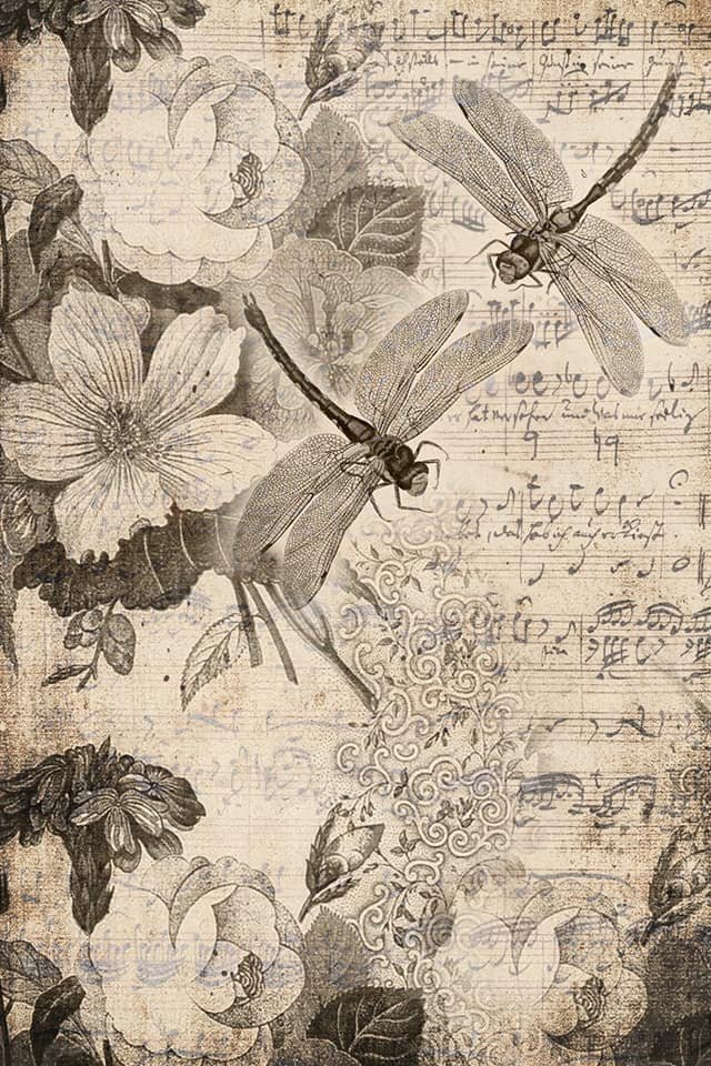 Musical Dragonflies 20x30 Roycycled Decoupage Paper - copy