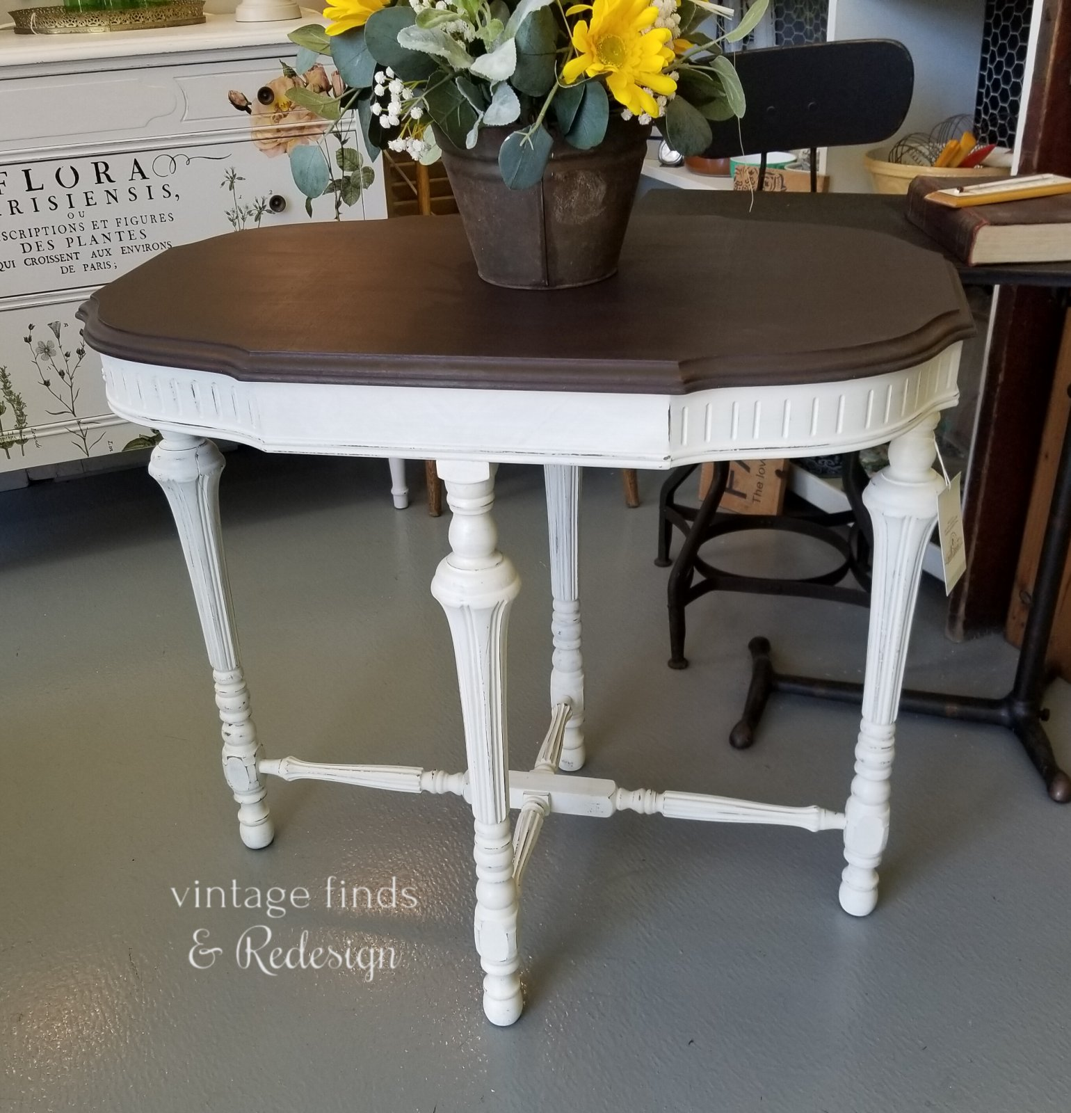 Victorian Parlor Table Curio & Farmhouse White