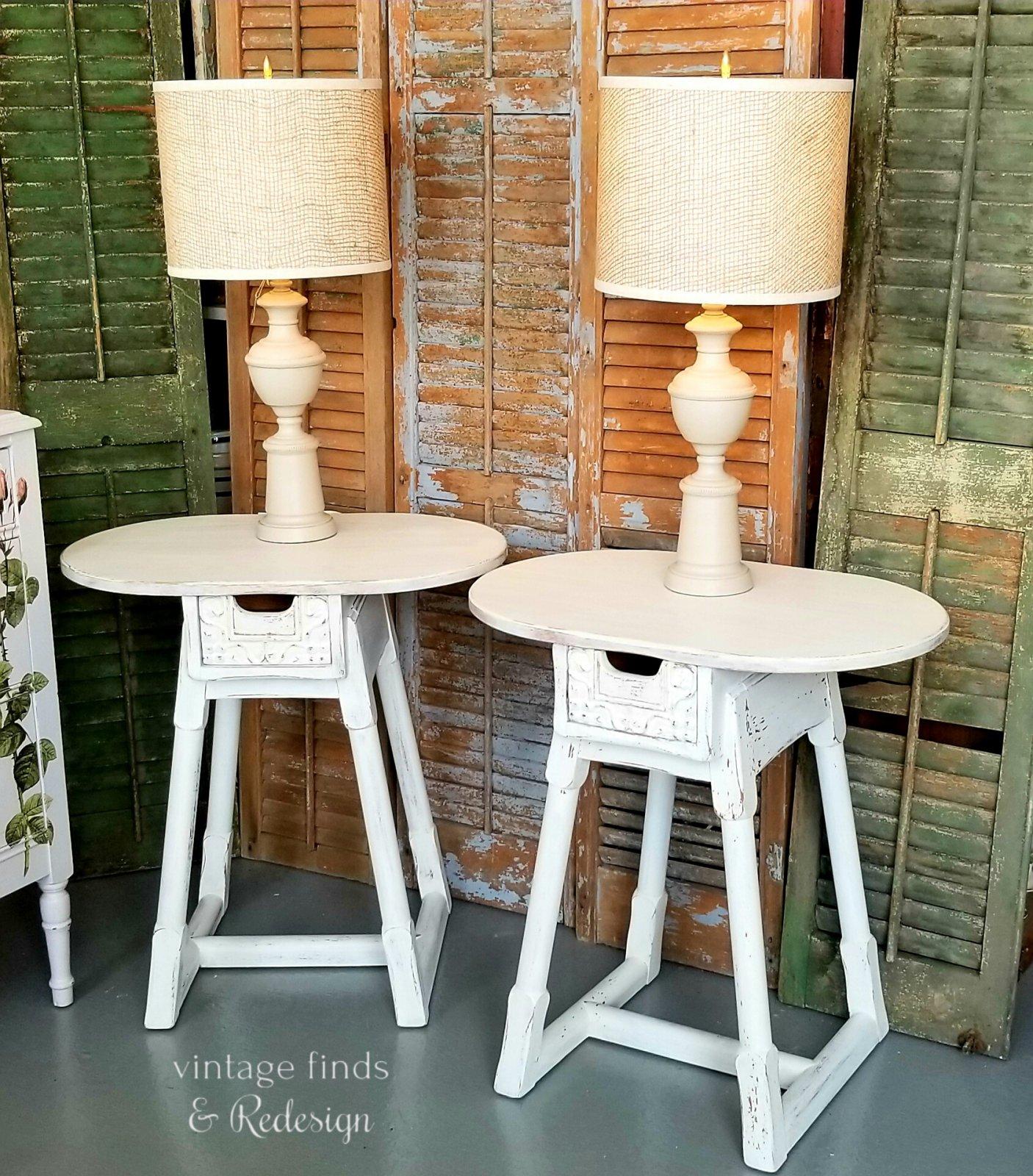 Pair Jamestown Lounge Co Farmhouse White End Tables