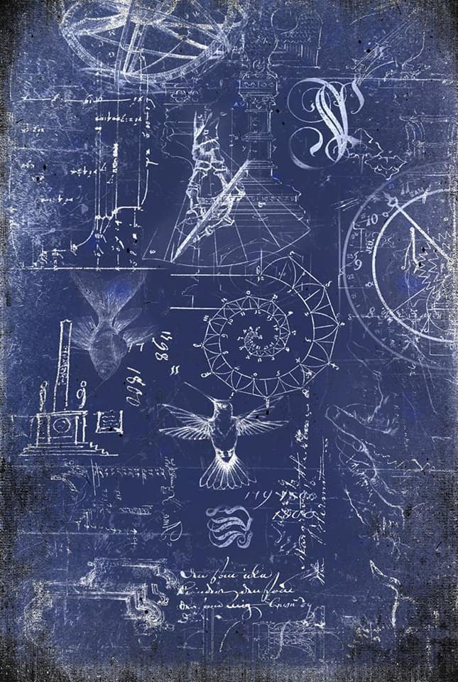 Renaissance Blueprint 20x30 Roycycled Decoupage Paper