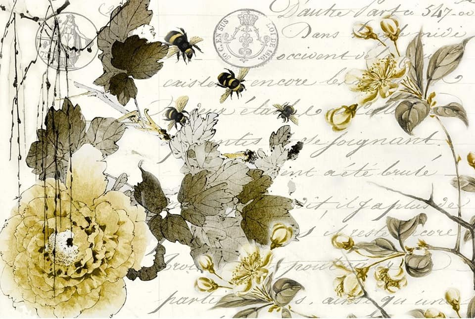 Sepia Blossom 20x30 Roycycled Decoupage Paper