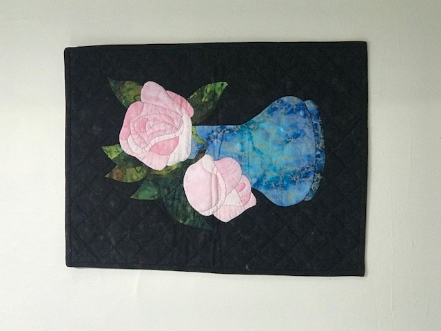 Beautiful hand applique rose embroidery oval shape cotton table