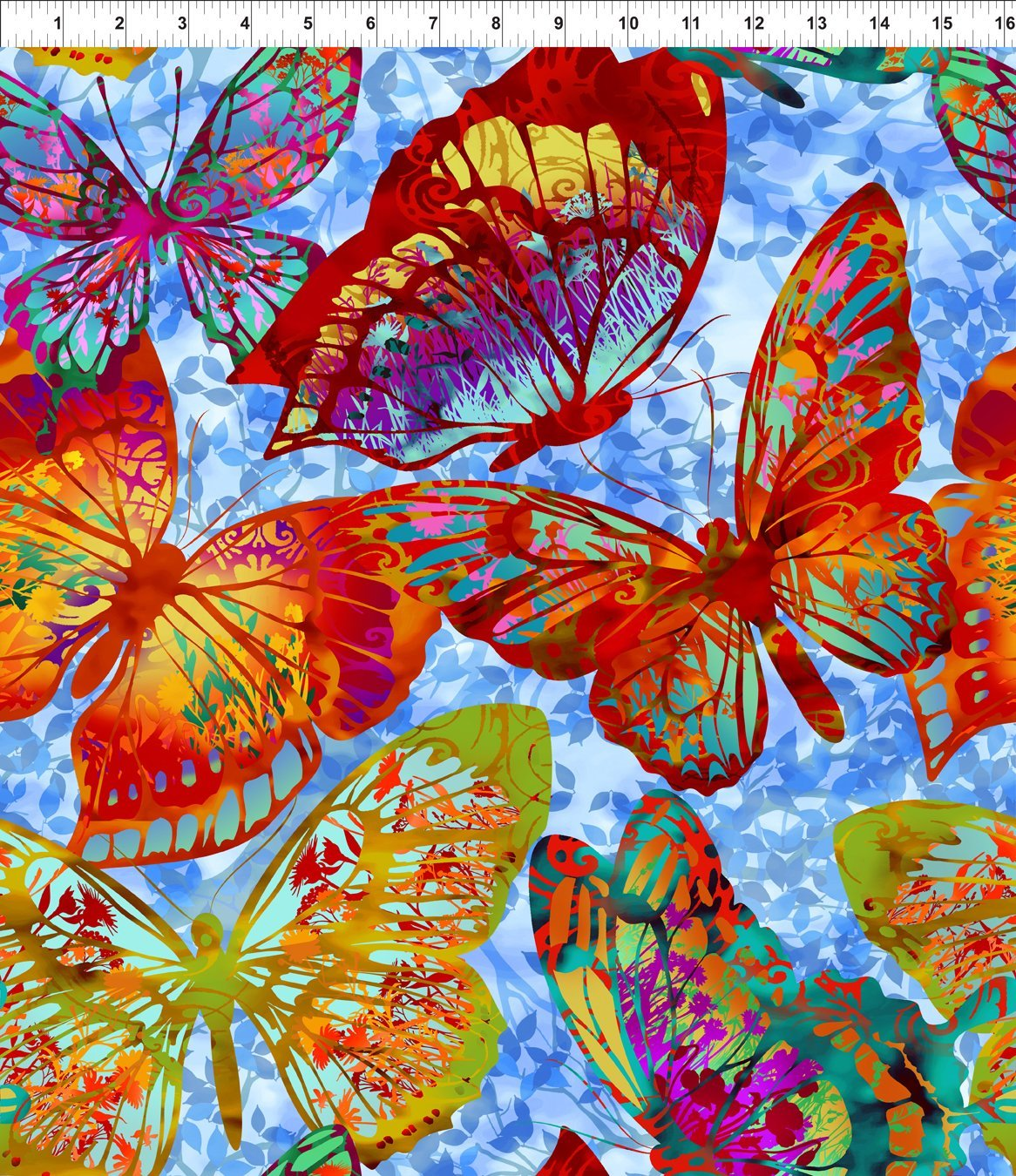 Lg Butterflies- Blue/Multi Remnant