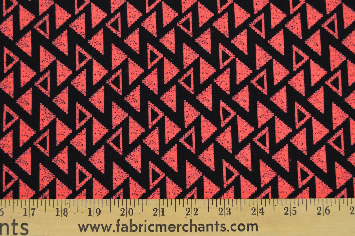 Cotton Lycra Jersey - Coral Geometric