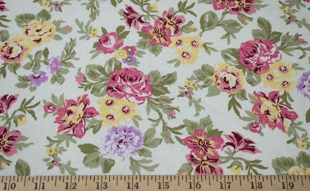 Cotton Blend Jersey - White / Pink / Violet Floral