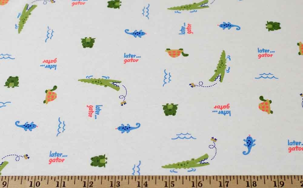 Cotton Blend Jersey - White / Green / Orange / Blue Alligators and Frogs