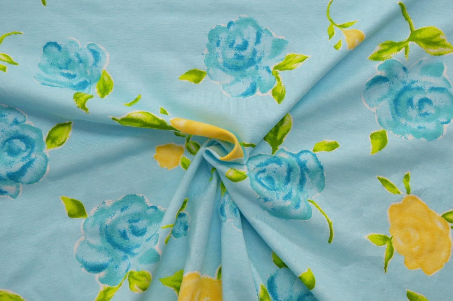 Cotton Ribbed Knit - Turquoise and Yellow Flowers on Light Blue