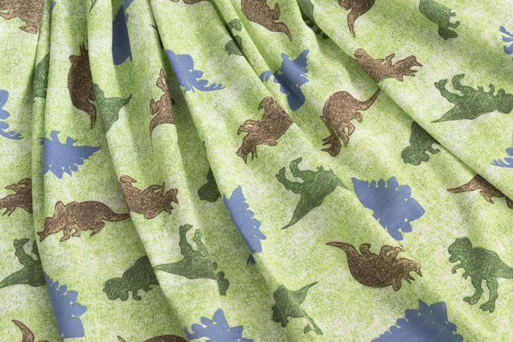 Polyester Cotton Rib Knit - Dinosaurs on Green