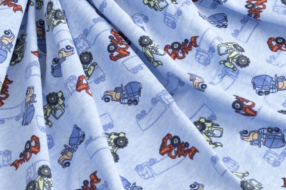 Cotton Jersey Knit - Construction on Blue