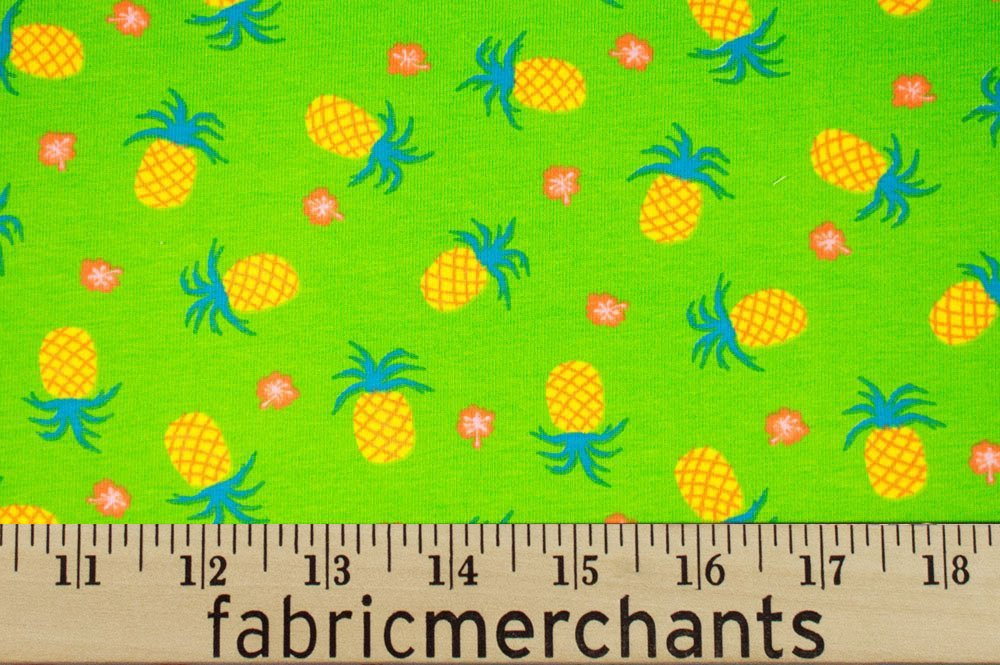 Cotton Lycra Jersey - Lime Green with Pineapples
