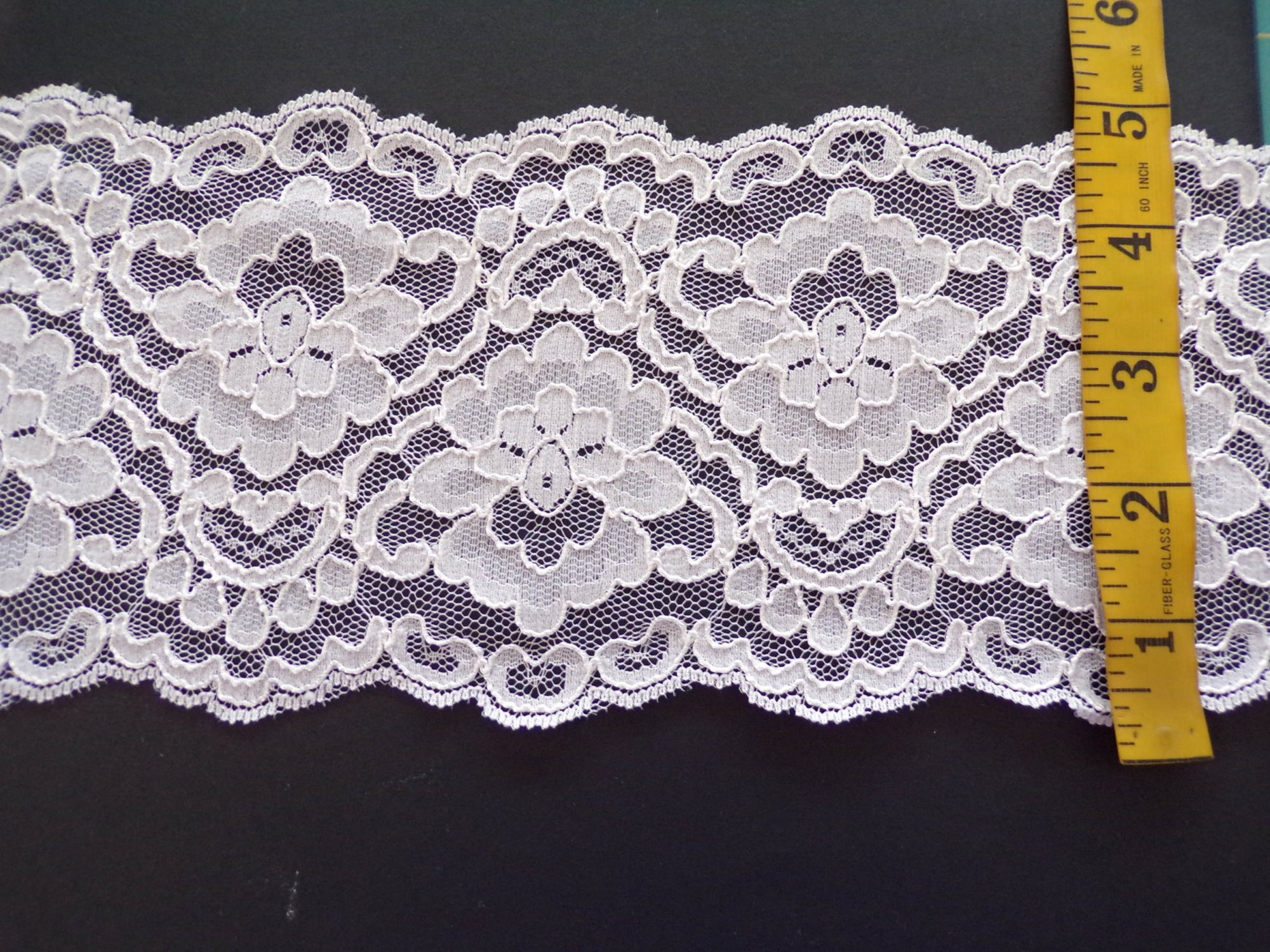 5 Ivory Re-Embroidered Rigid Lace