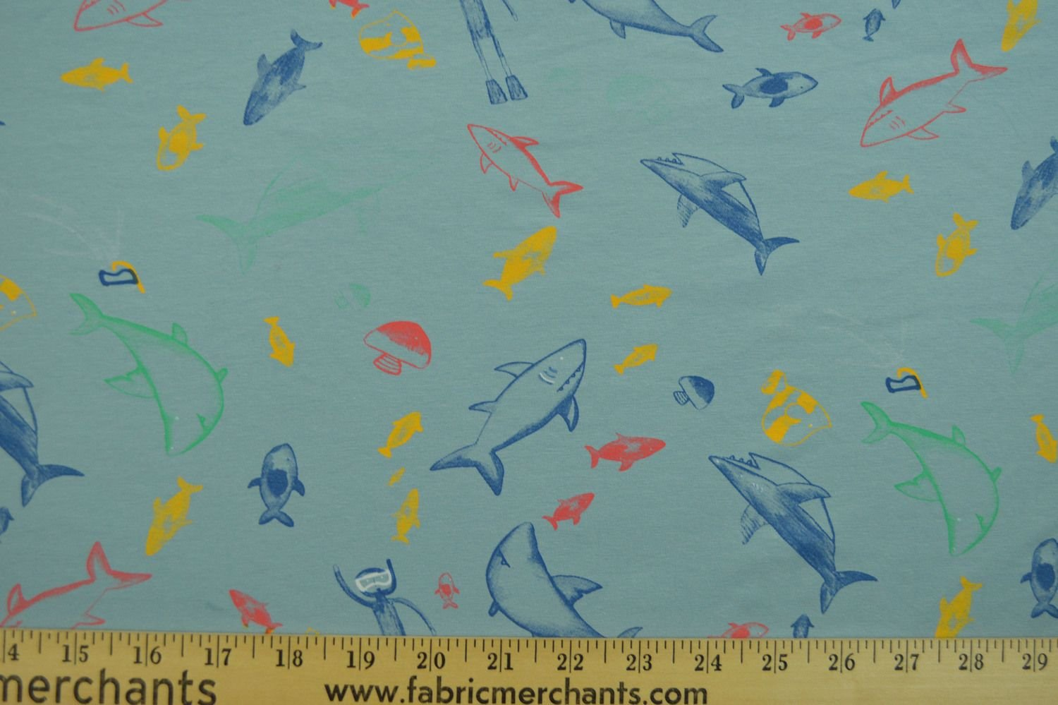 Cotton Lycra Jersey - Sea Life and Diver on Denim