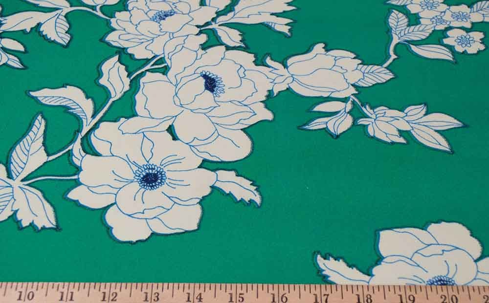 Single Brushed Polyester - Green / Ivory Floral