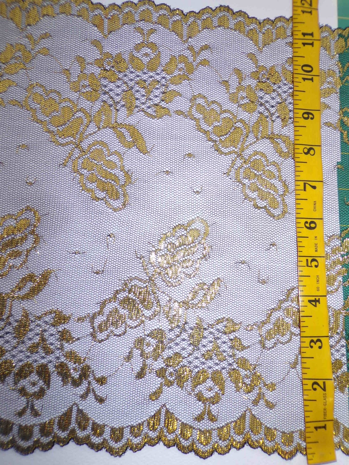 11 5/8 Galloon Black/Gold Rigid Lace - 2907-BG