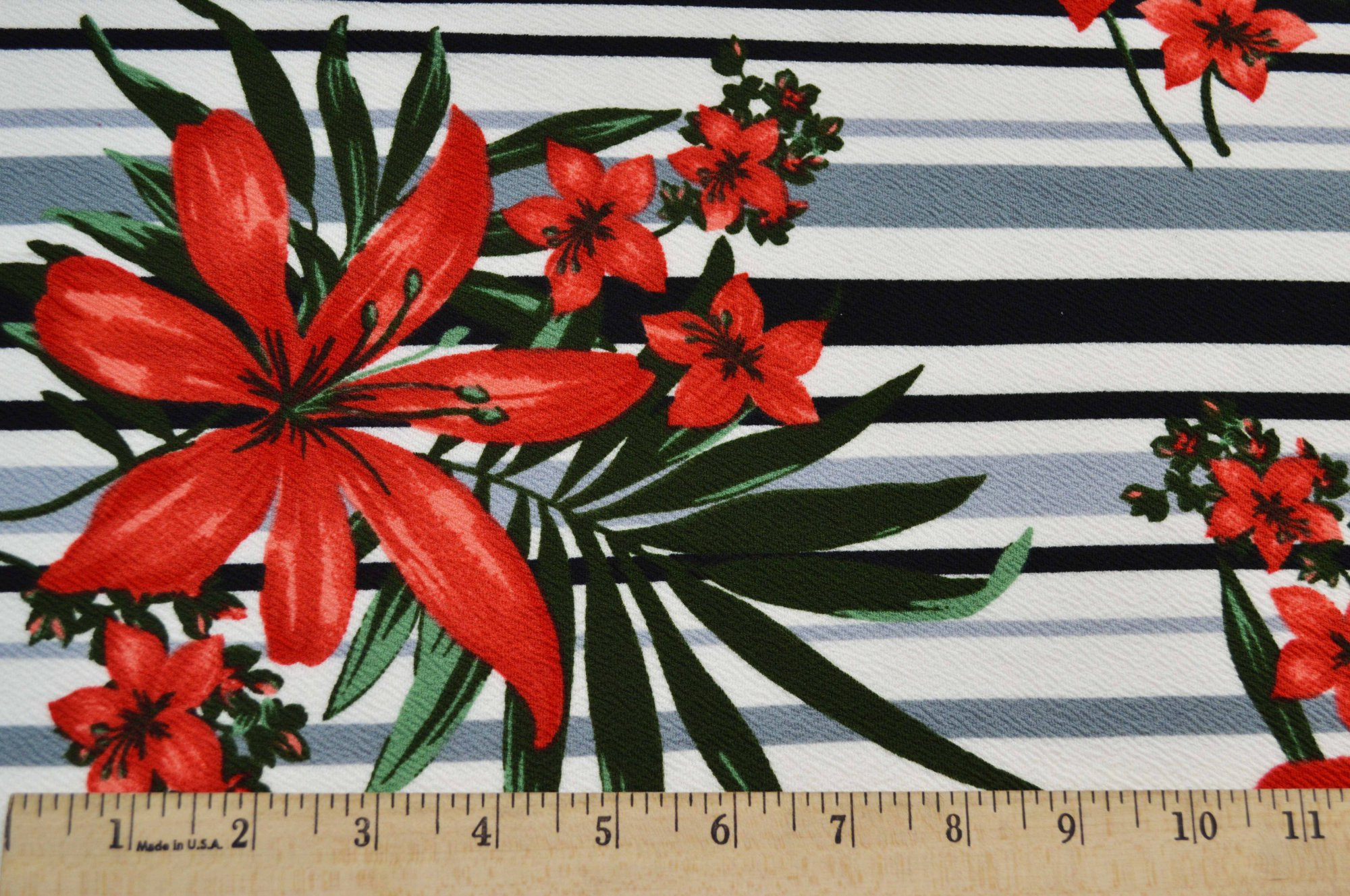 Liverpool Knit - Red Floral on Stripes