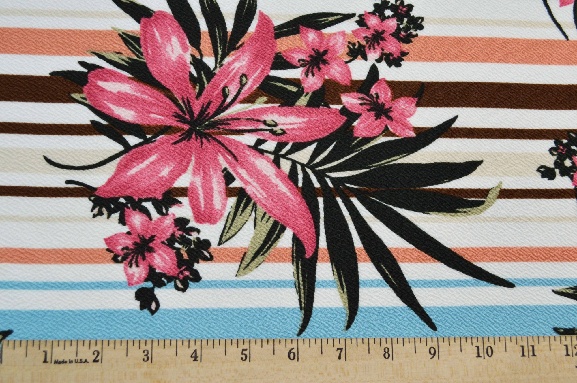 Liverpool Knit - Pink Floral on Stripes