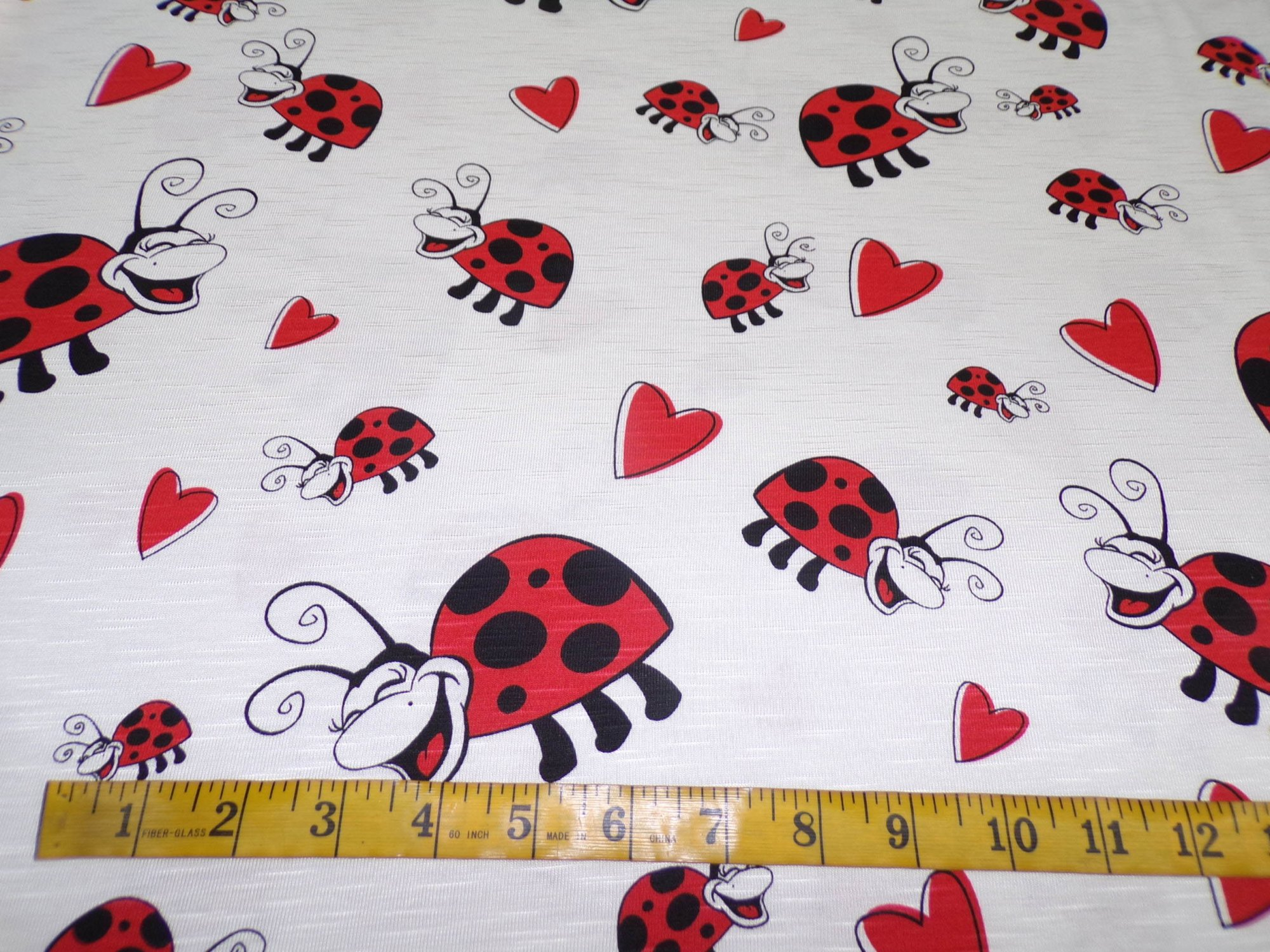 Cotton Jersey - Ladybugs and Hearts