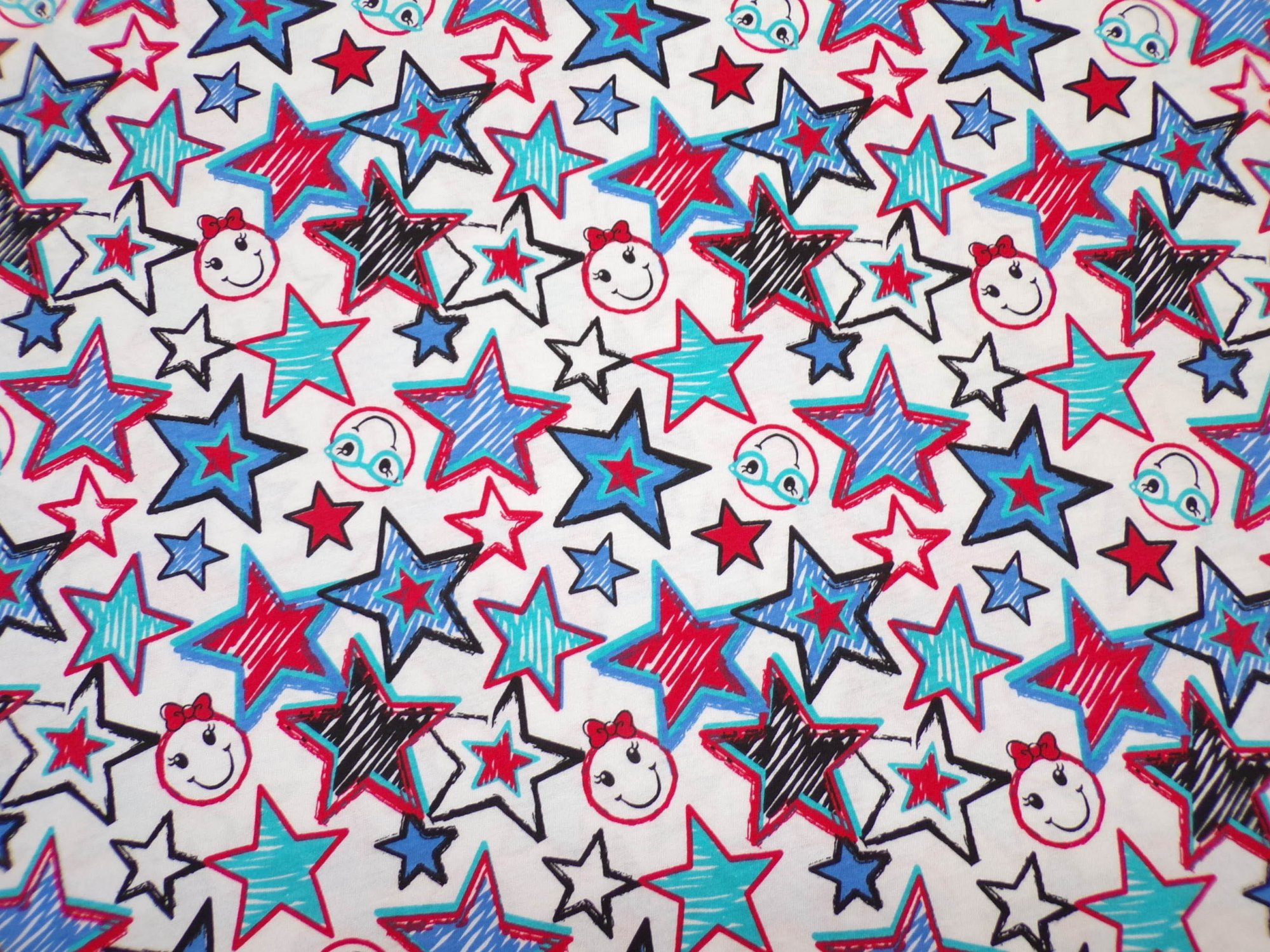 Cotton Jersey - Red White and Blue Stars on White