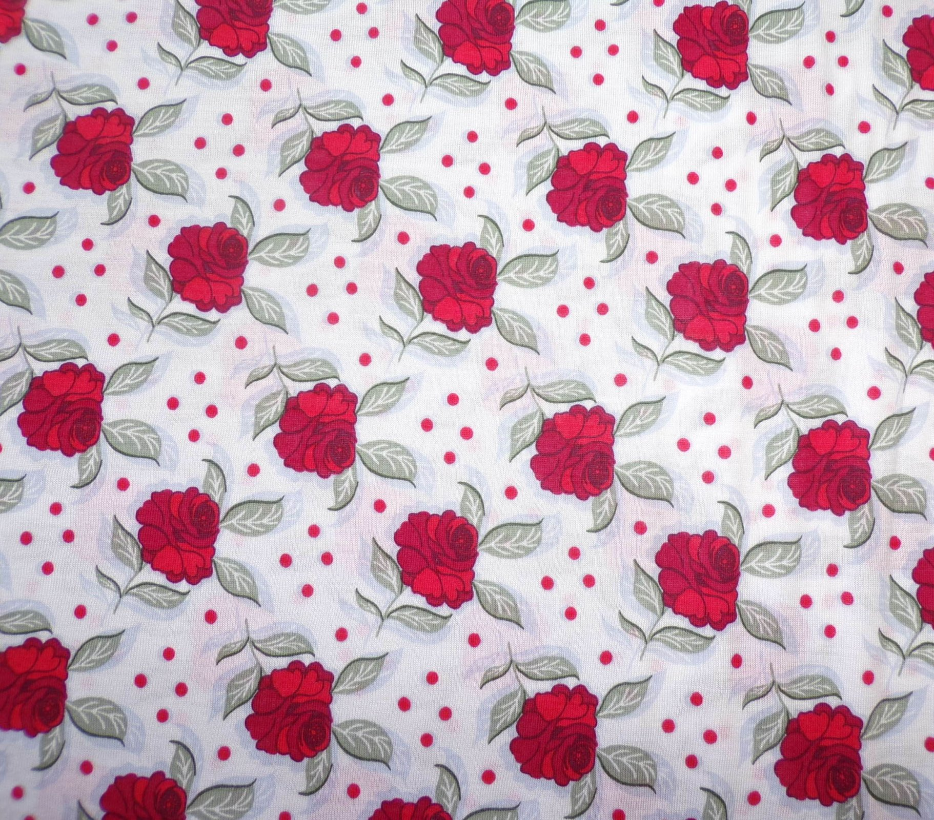 Pima Cotton Jersey - White with Red Roses