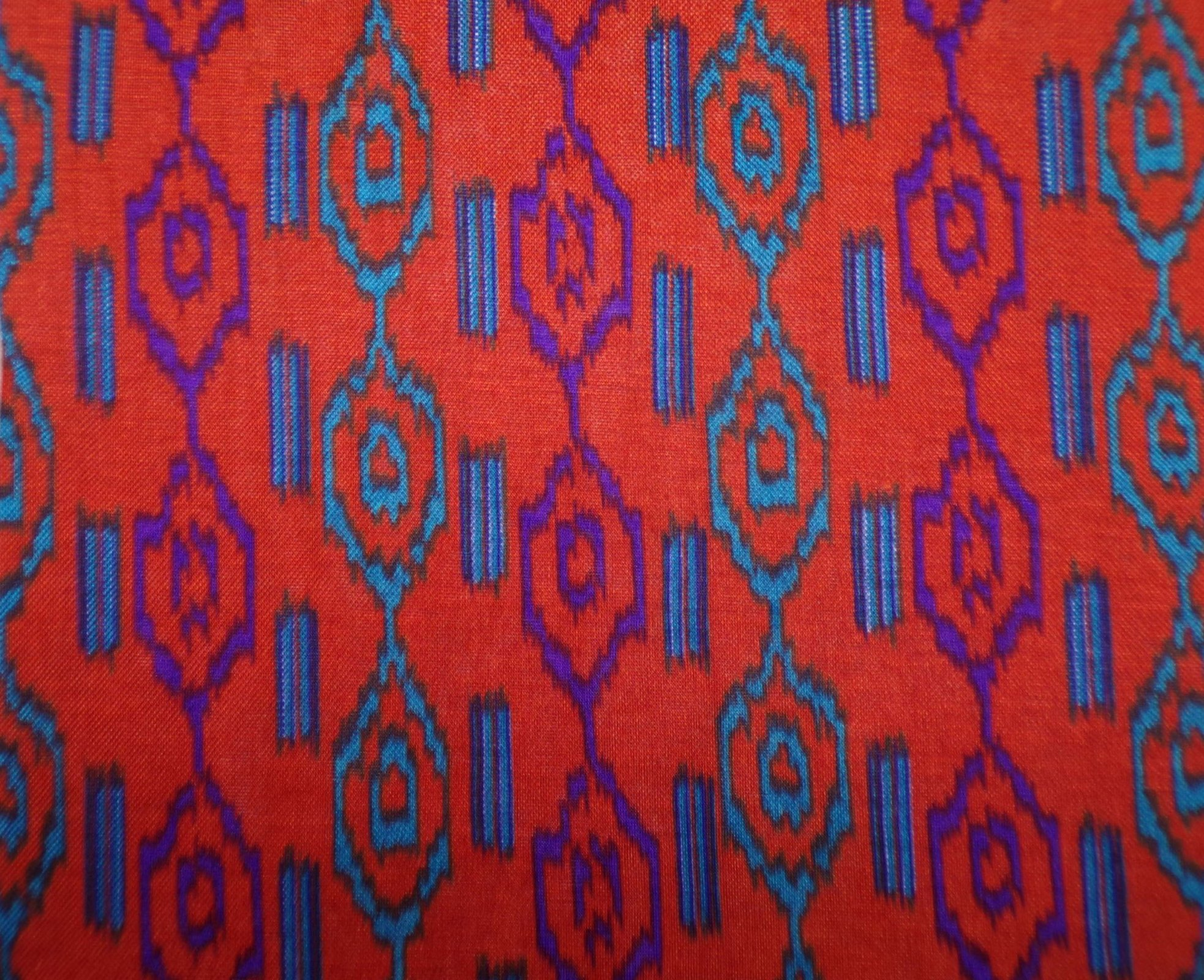 Cotton Jersey - Rust with Teal and Purple Geometric
