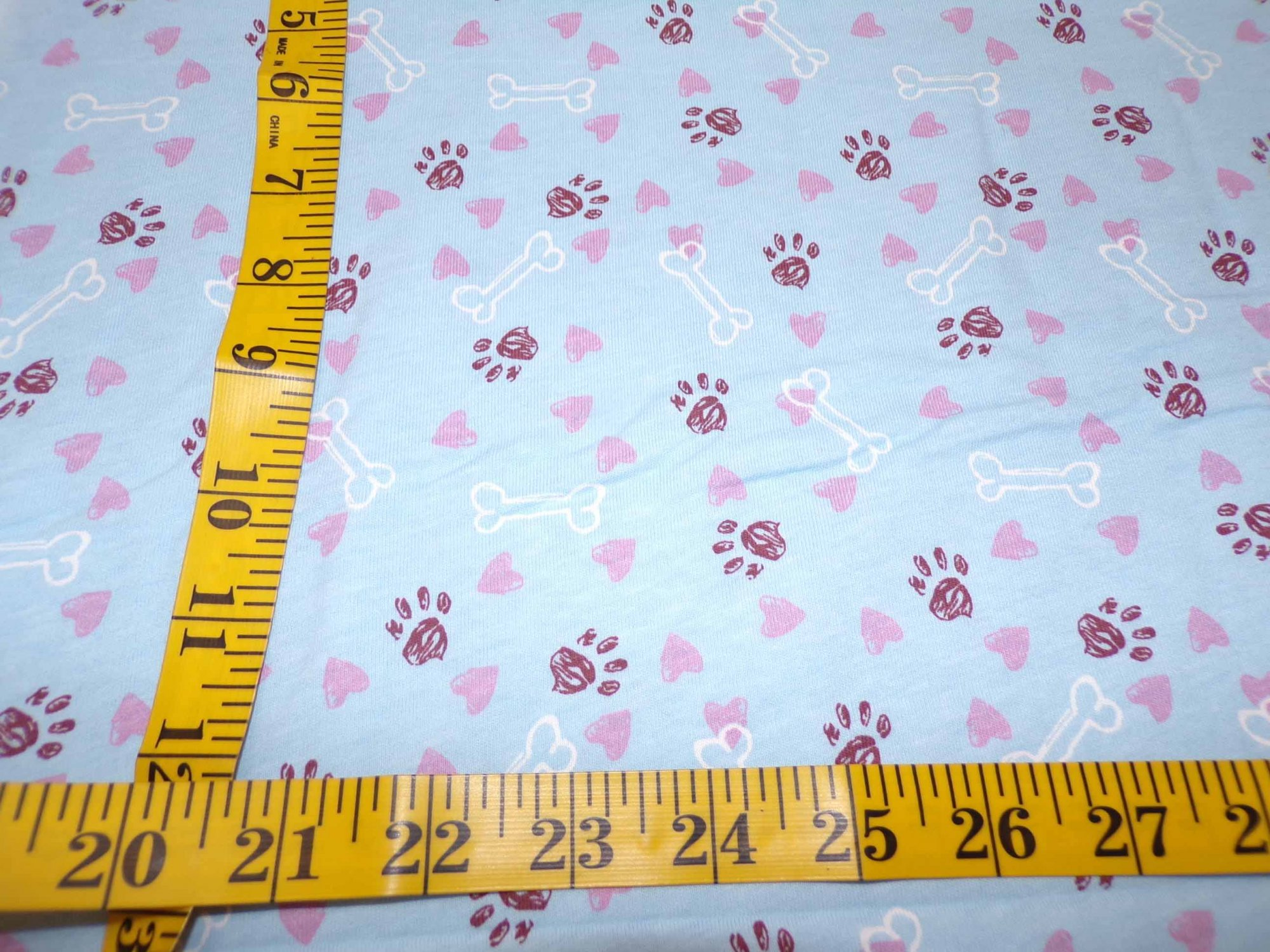 Cotton Jersey - Light Blue with Paw Prints, Bones, & Hearts