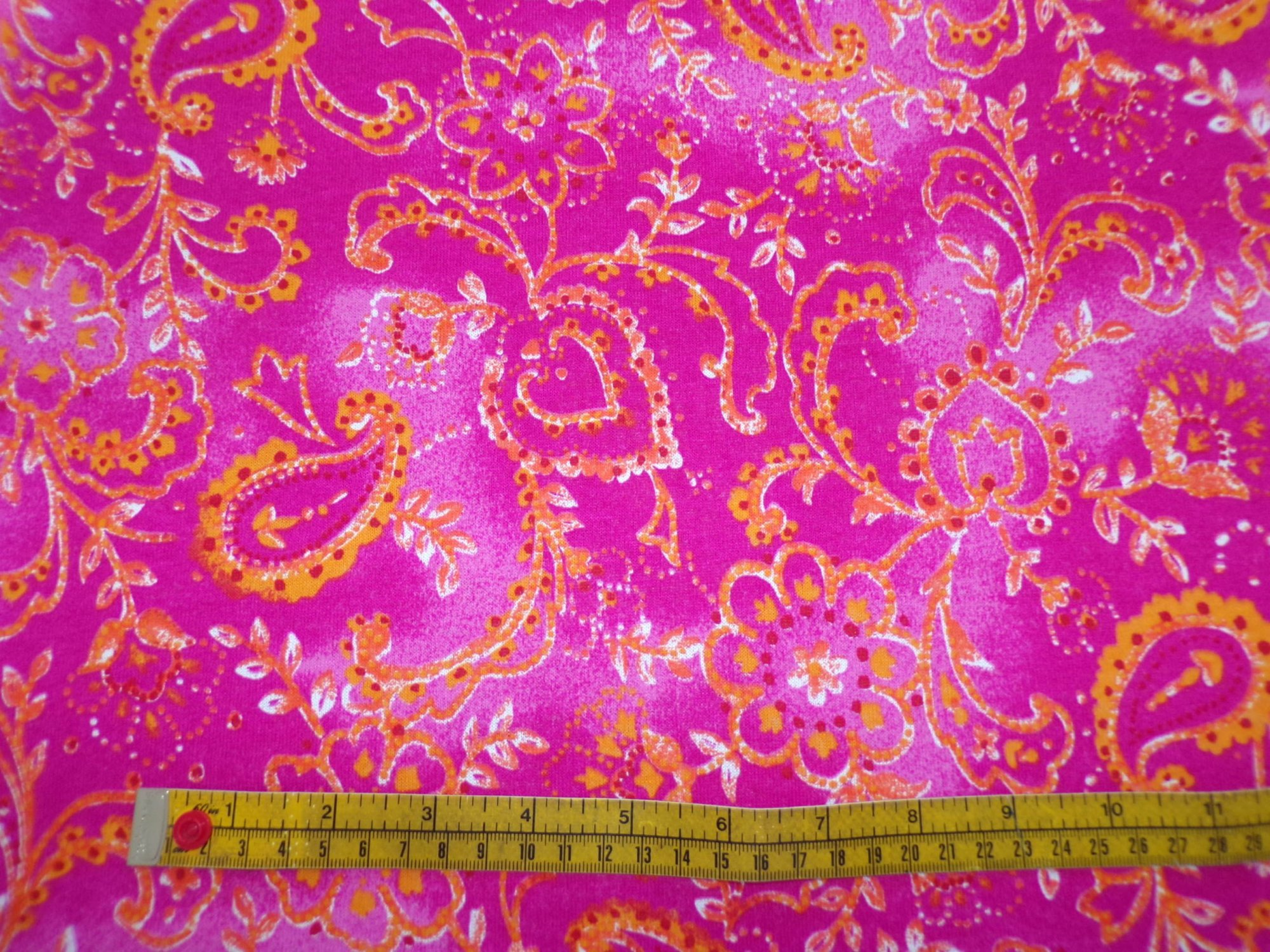 Cotton Jersey - Pink and Orange Paisley